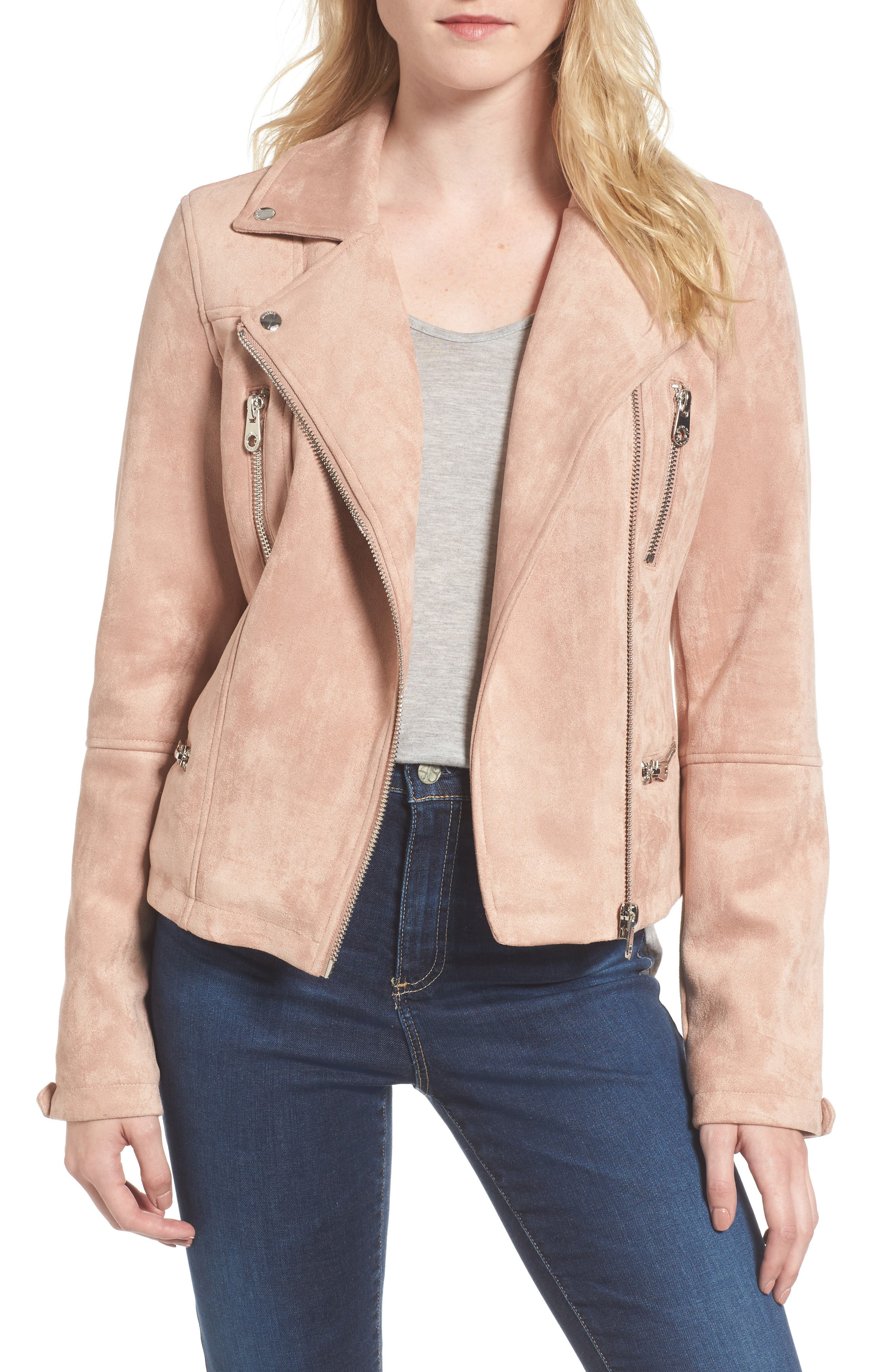Alternate Image 1 Selected - Members Only Faux Suede Biker Jacket