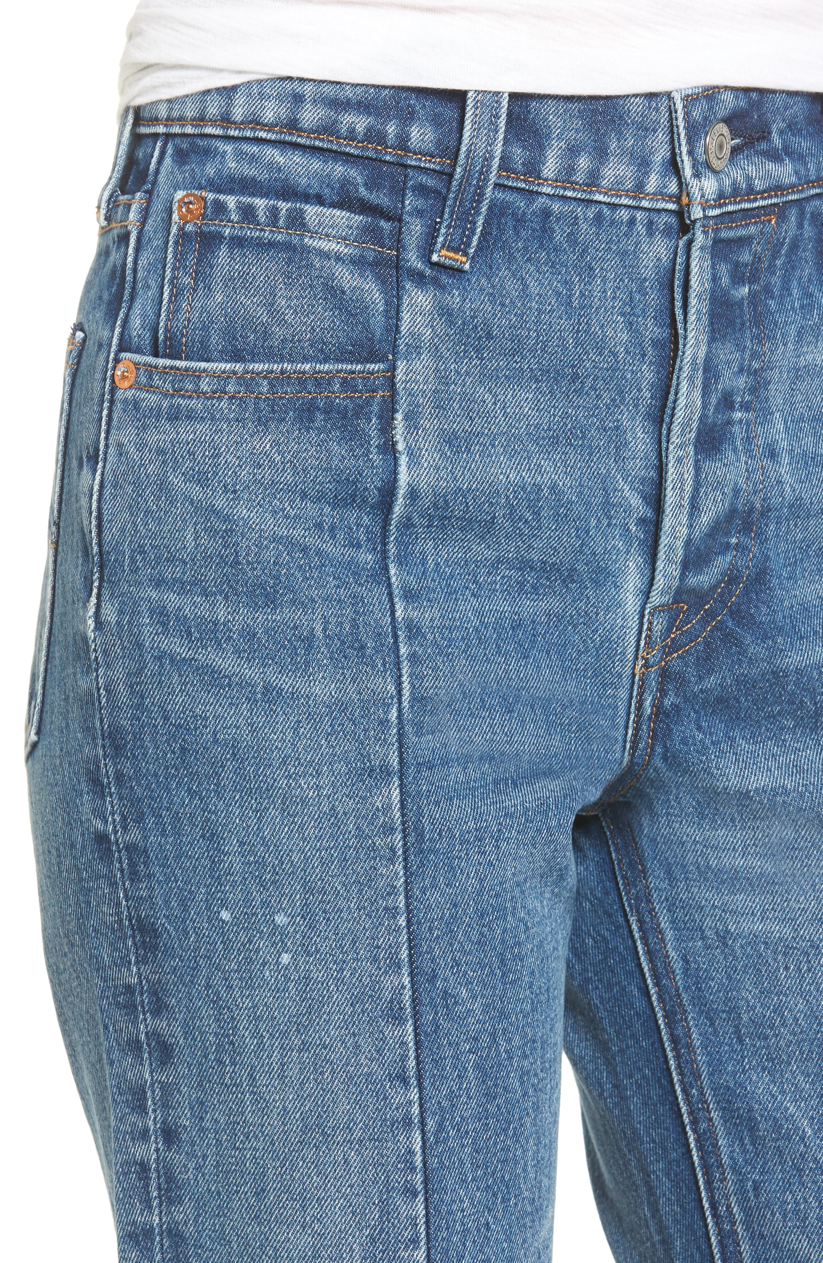Wedgie Altered Straight Leg Crop Jeans,                             Alternate thumbnail 4, color,                             No Limits
