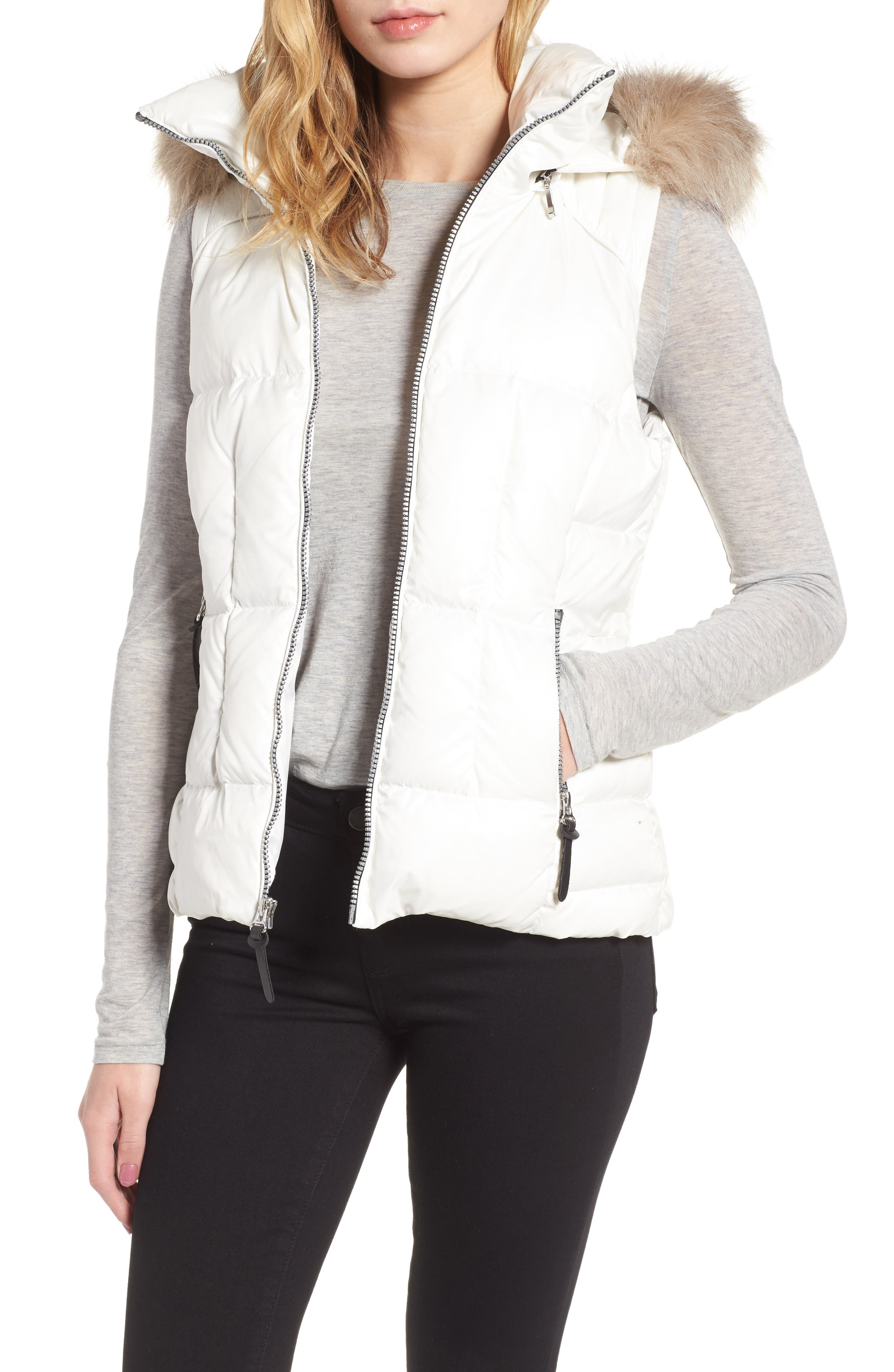 Lanie Puffer Vest with Faux Fur,                         Main,                         color, White