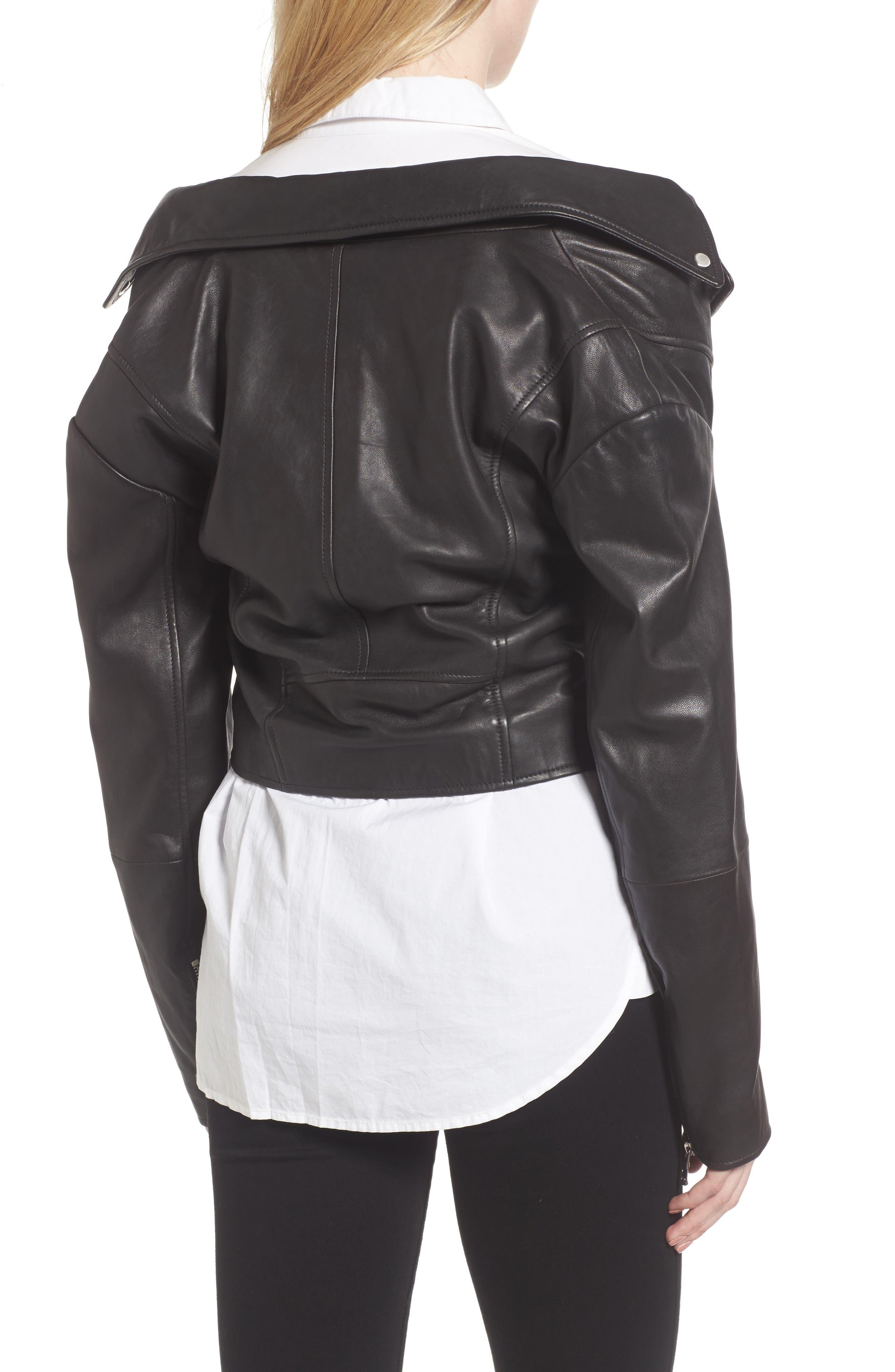 Alternate Image 4  - Trouvé Off the Shoulder Leather Moto Jacket