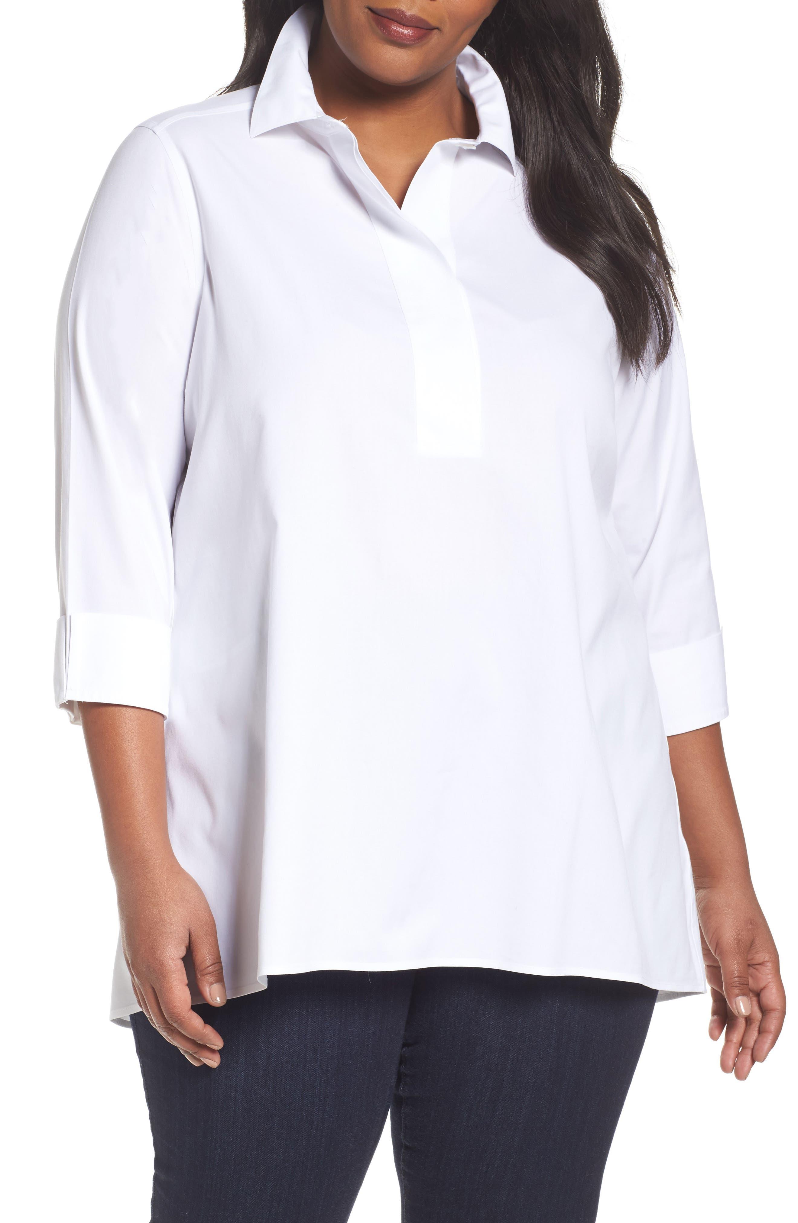 Foxcroft Bre Non Iron Stretch Cotton Tunic (Plus Size)