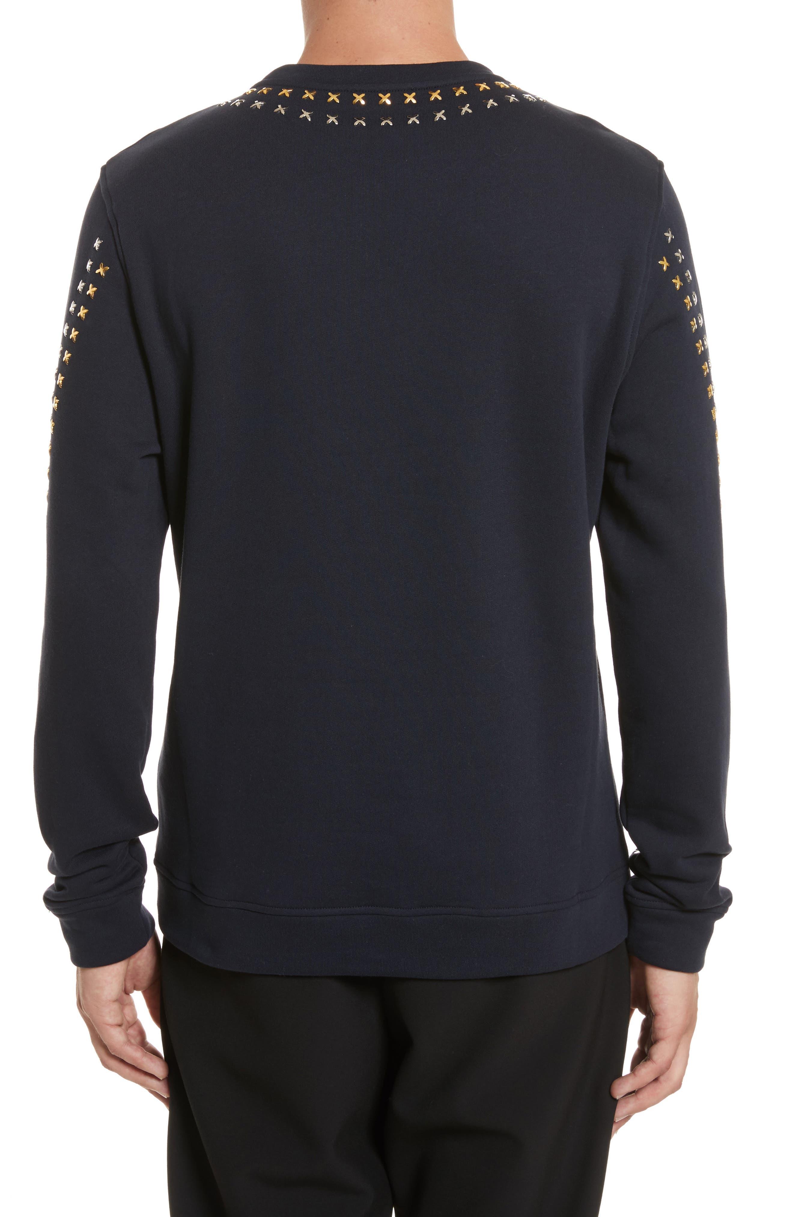 Studded Crewneck Sweatshirt,                             Alternate thumbnail 2, color,                             Navy