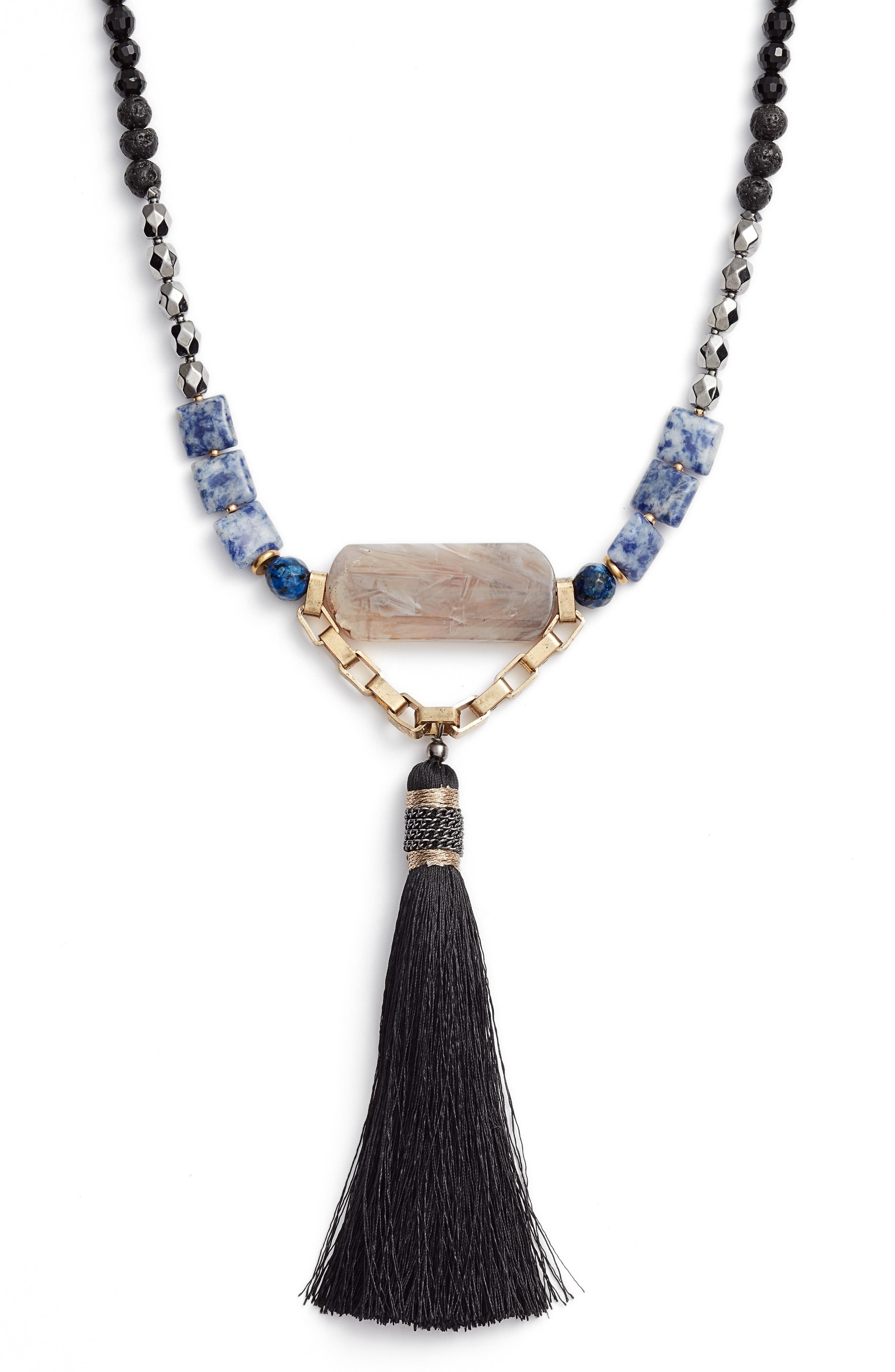 Long Tassel Necklace,                             Alternate thumbnail 2, color,                             Blue