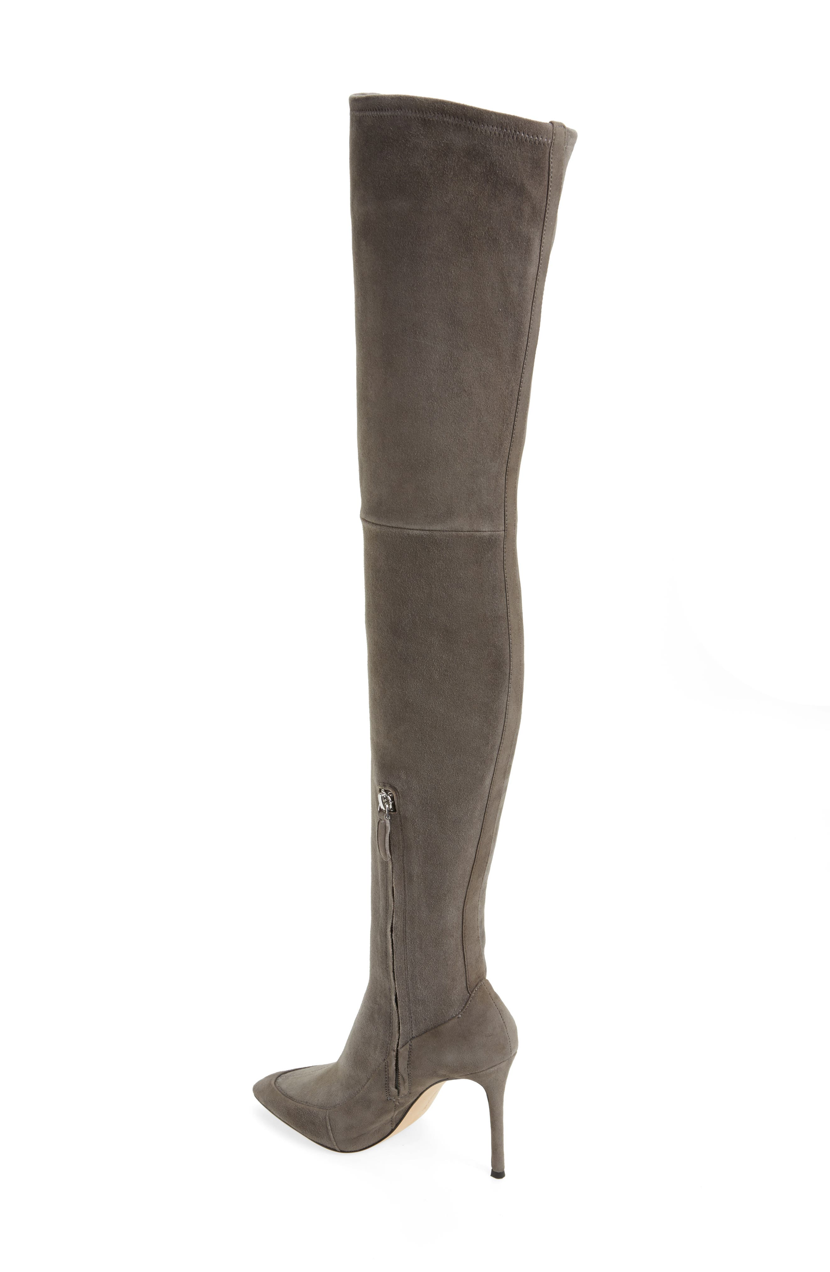 Cassie Thigh High Boot,                             Alternate thumbnail 3, color,                             Anthracite Suede