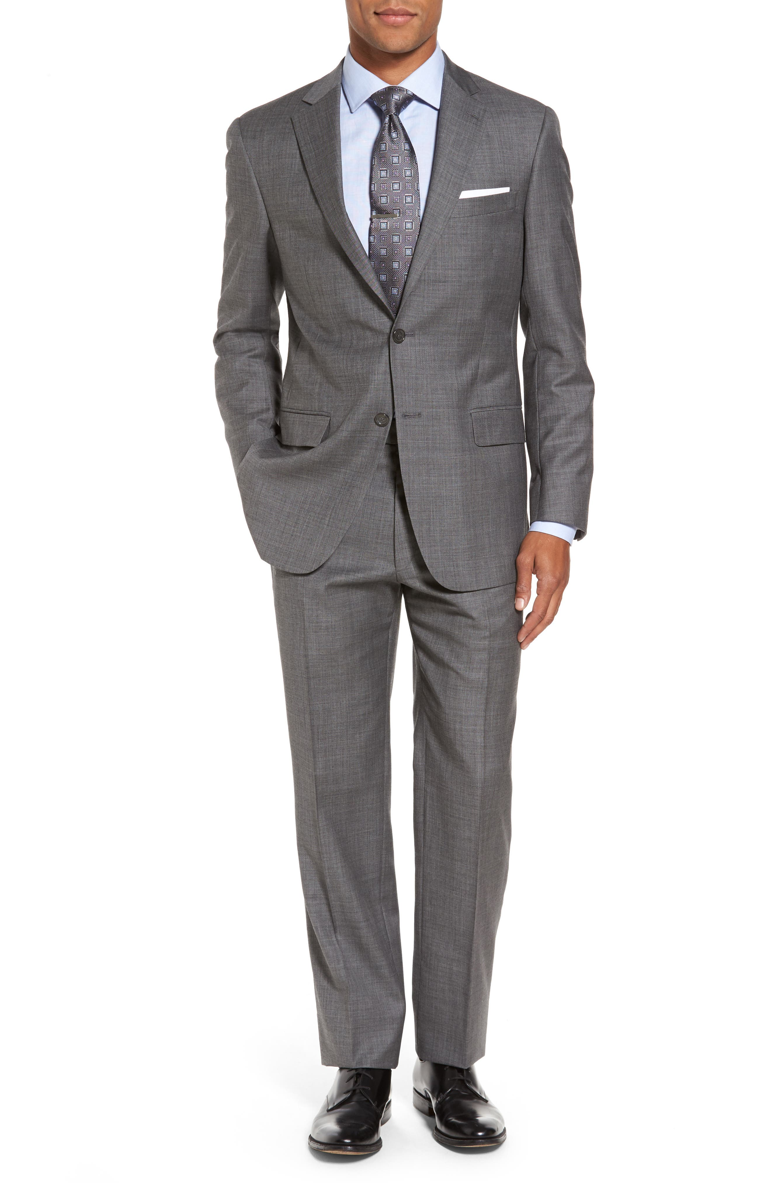 Classic Fit Solid Wool Suit,                         Main,                         color, Med Grey