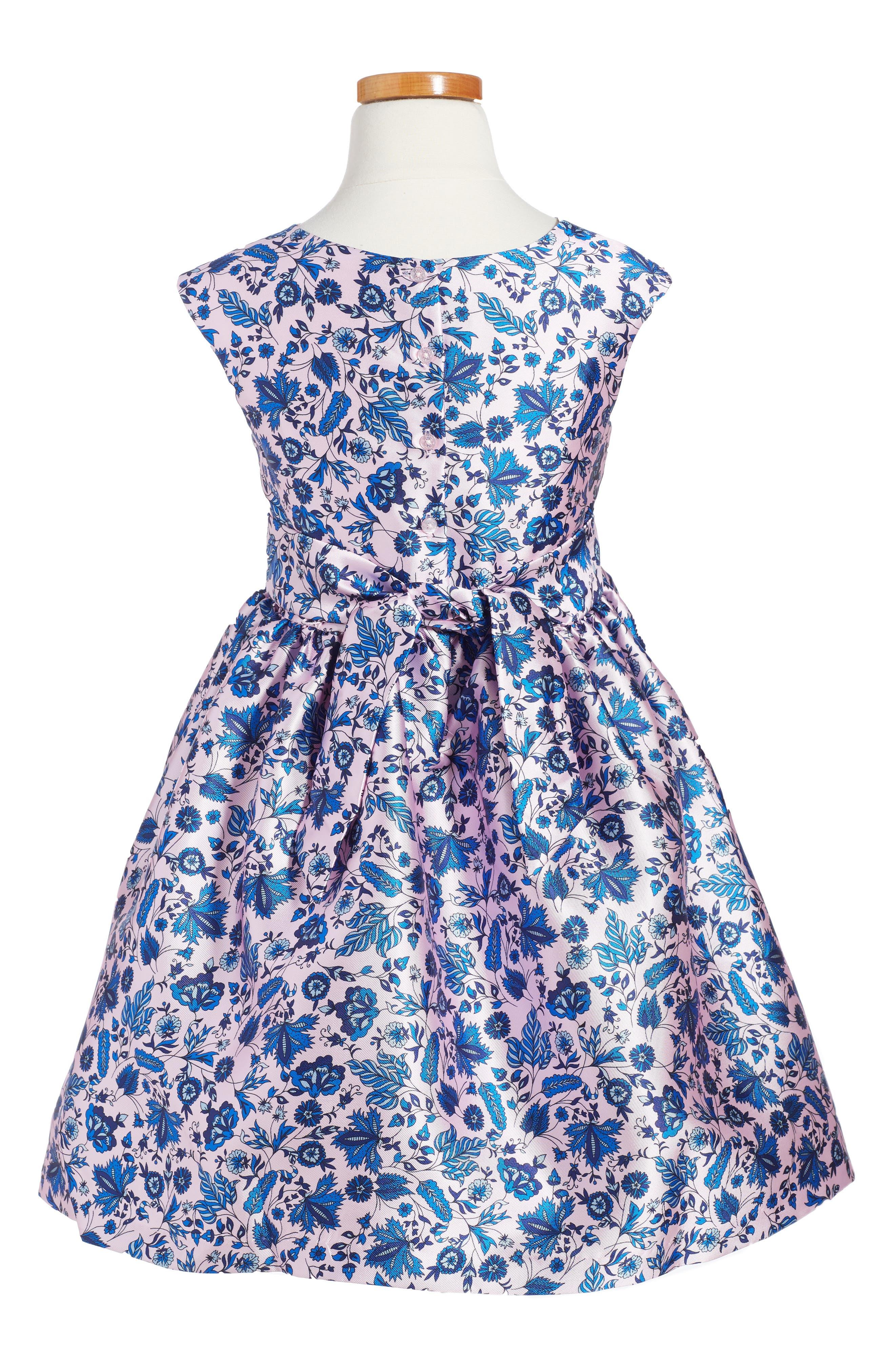 Print Fit & Flare Dress,                             Alternate thumbnail 2, color,                             Pink/ Blue
