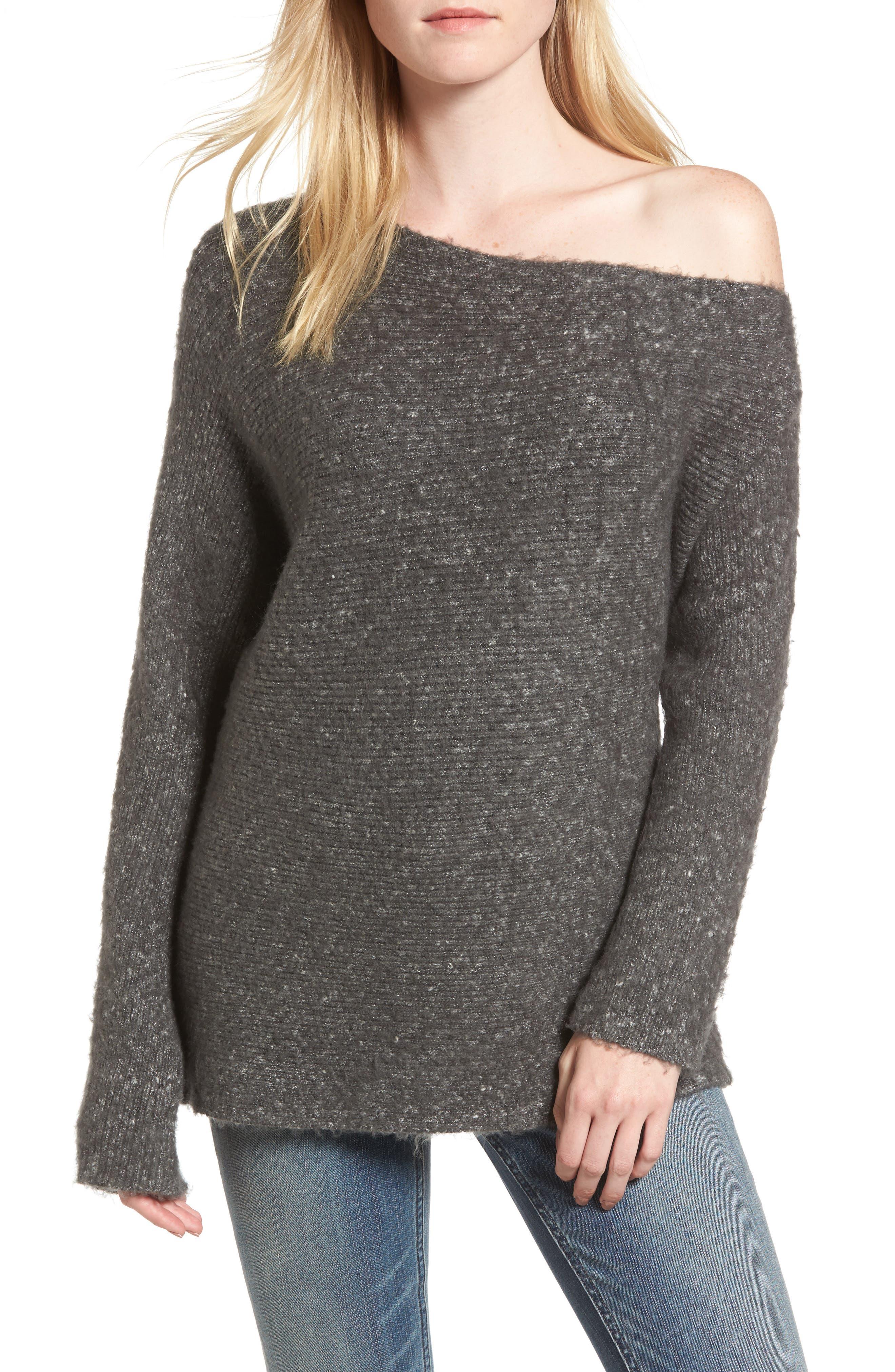 Alternate Image 1 Selected - Treasure & Bond One-Shoulder Ribbed Sweater