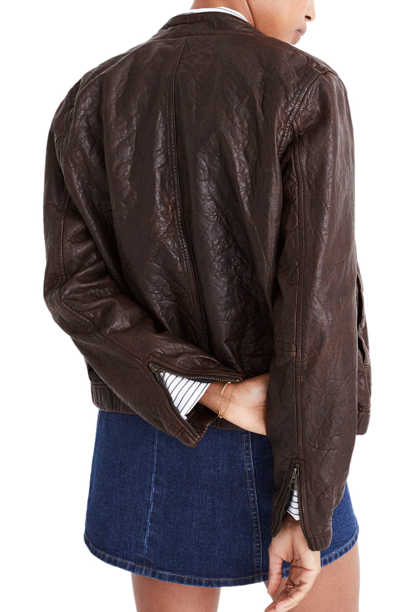 Leather Bomber Jacket,                             Alternate thumbnail 2, color,                             Dark Coffee