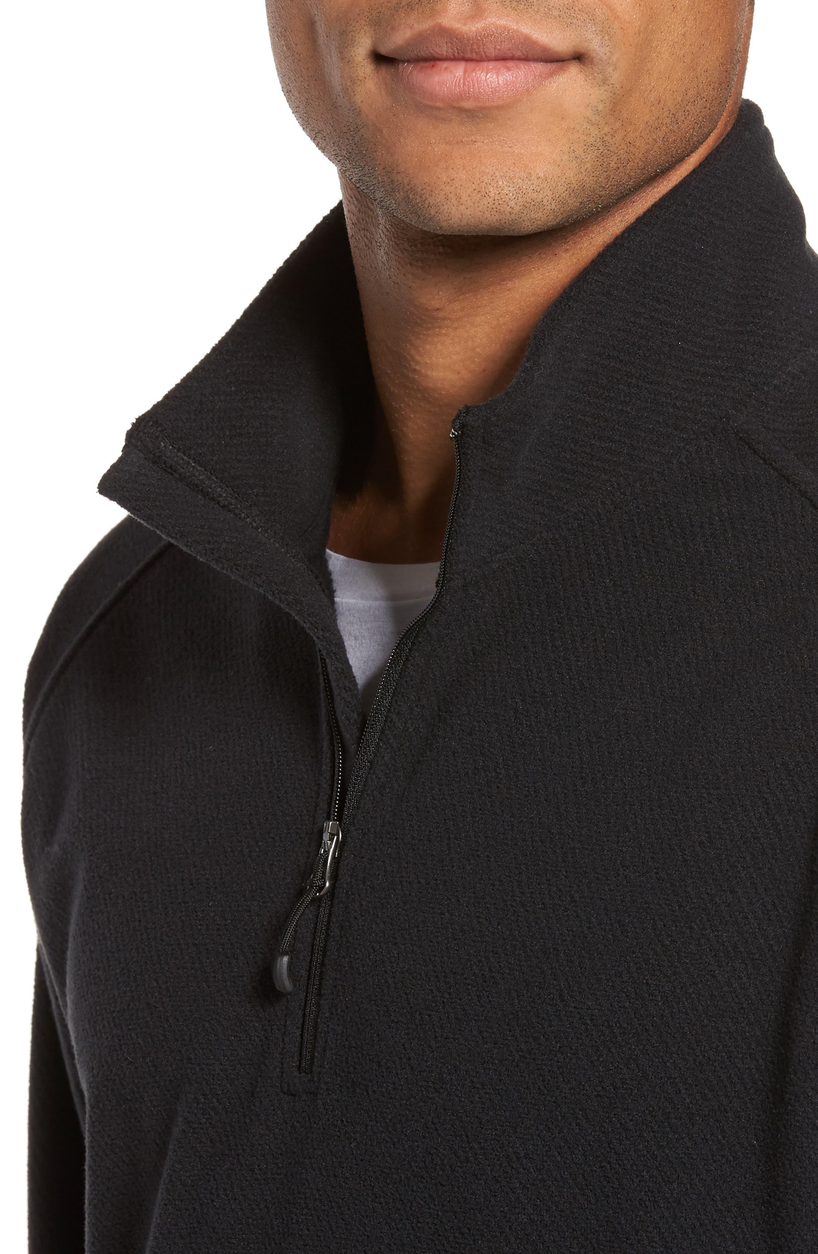 Quarter Zip Fleece Pullover,                             Alternate thumbnail 4, color,                             Black Caviar