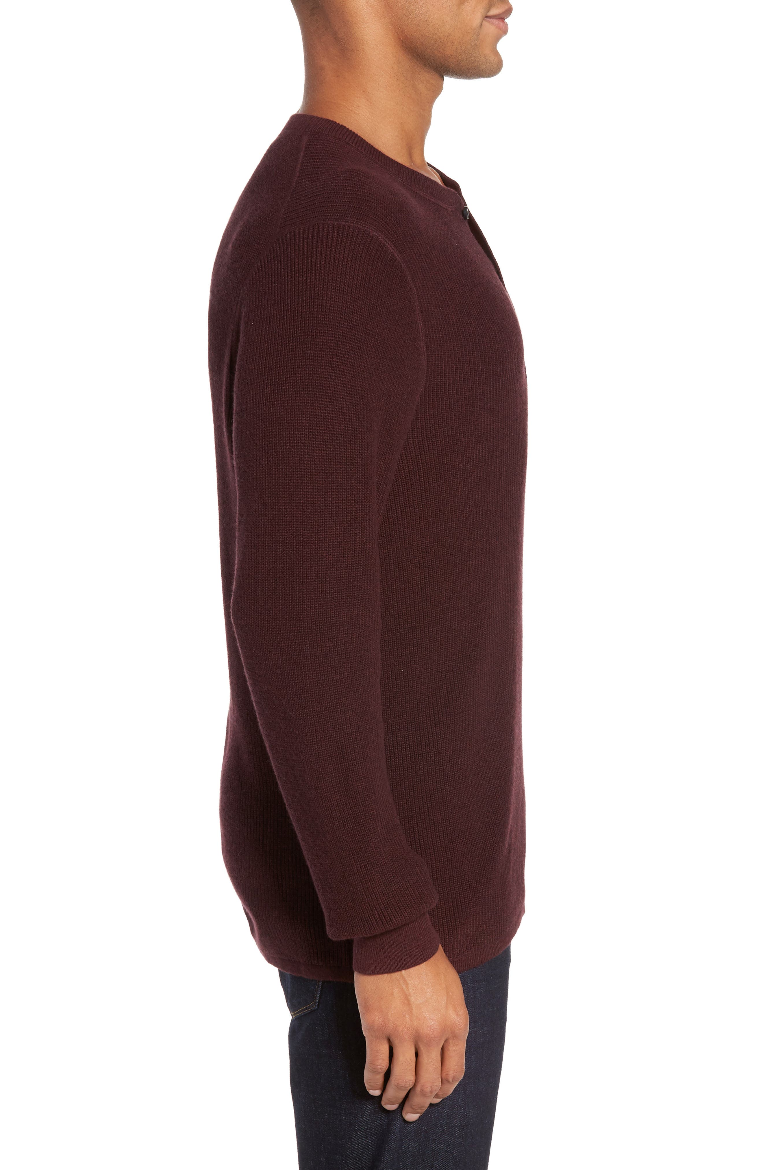 Cotton & Cashmere Henley Sweater,                             Alternate thumbnail 3, color,                             Burgundy Fudge Heather