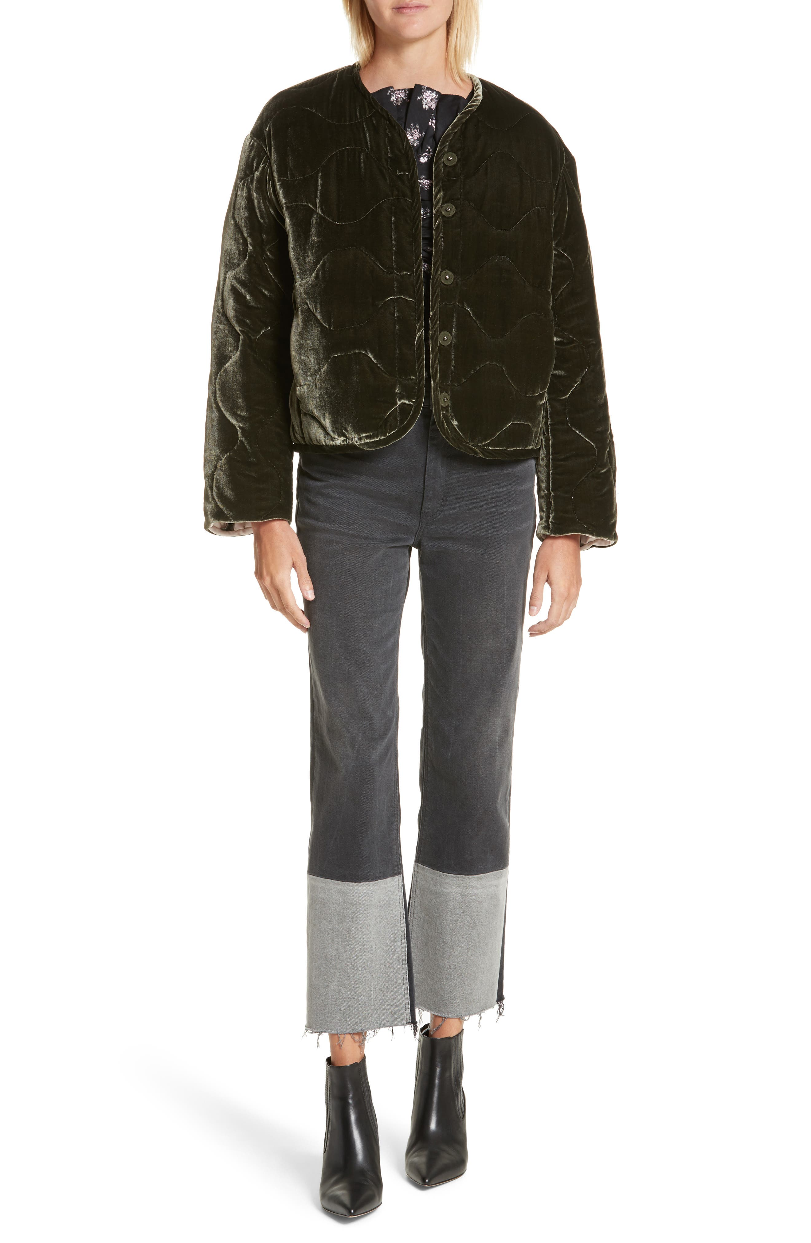 Alternate Image 2  - Rebecca Taylor Quilted Velvet Jacket