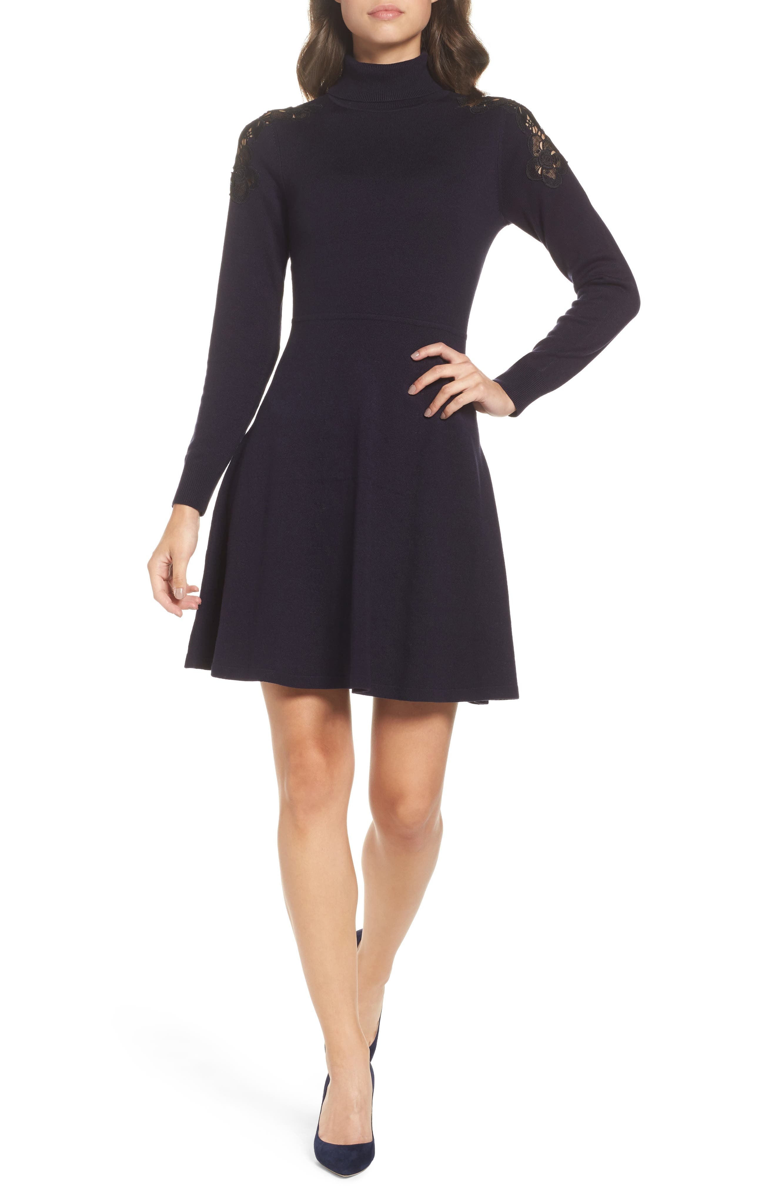 Lace Shoulder Turtleneck Sweater Dress,                         Main,                         color, Navy