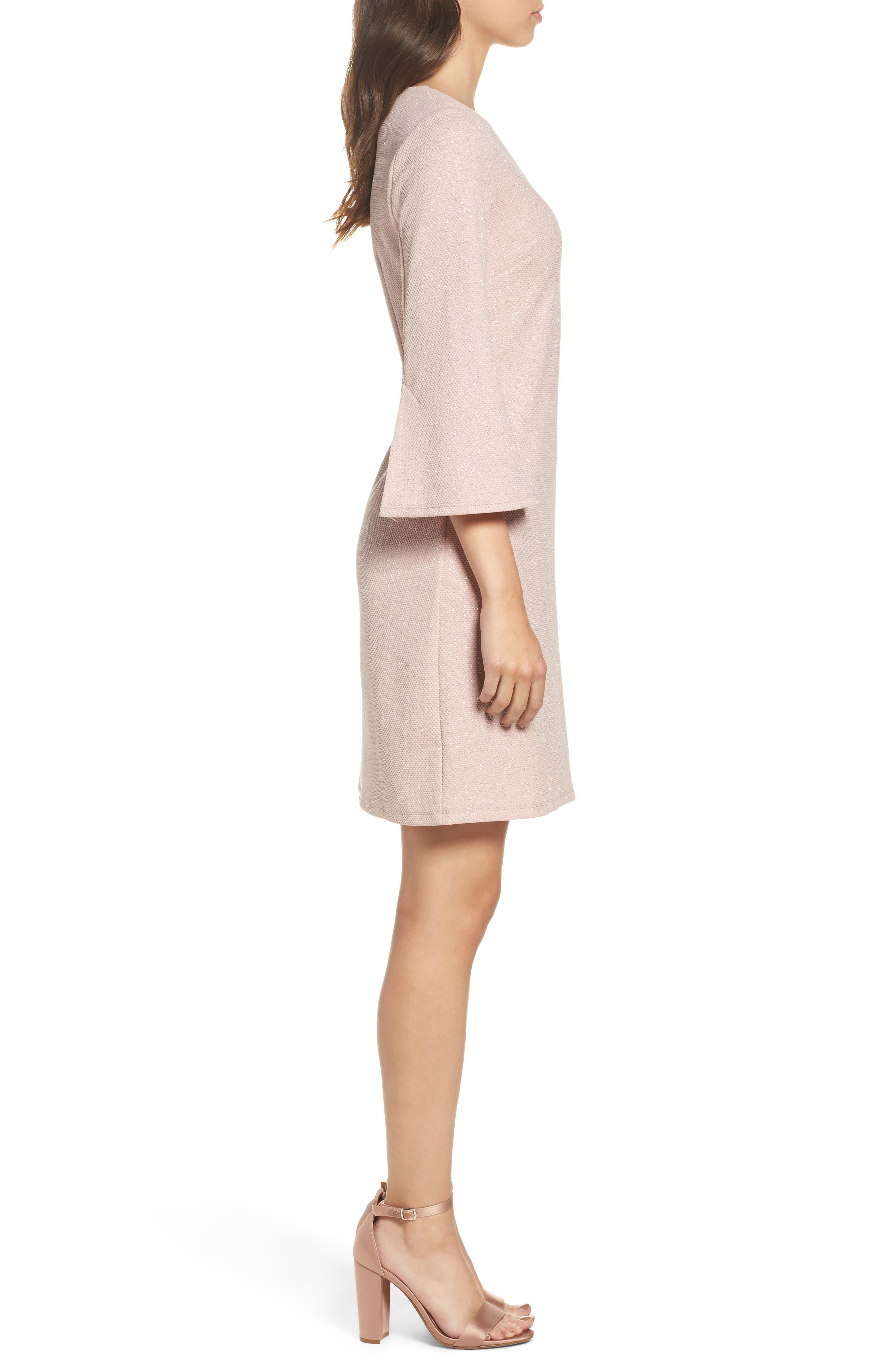 Bell Sleeve Shift Dress,                             Alternate thumbnail 3, color,                             Blush