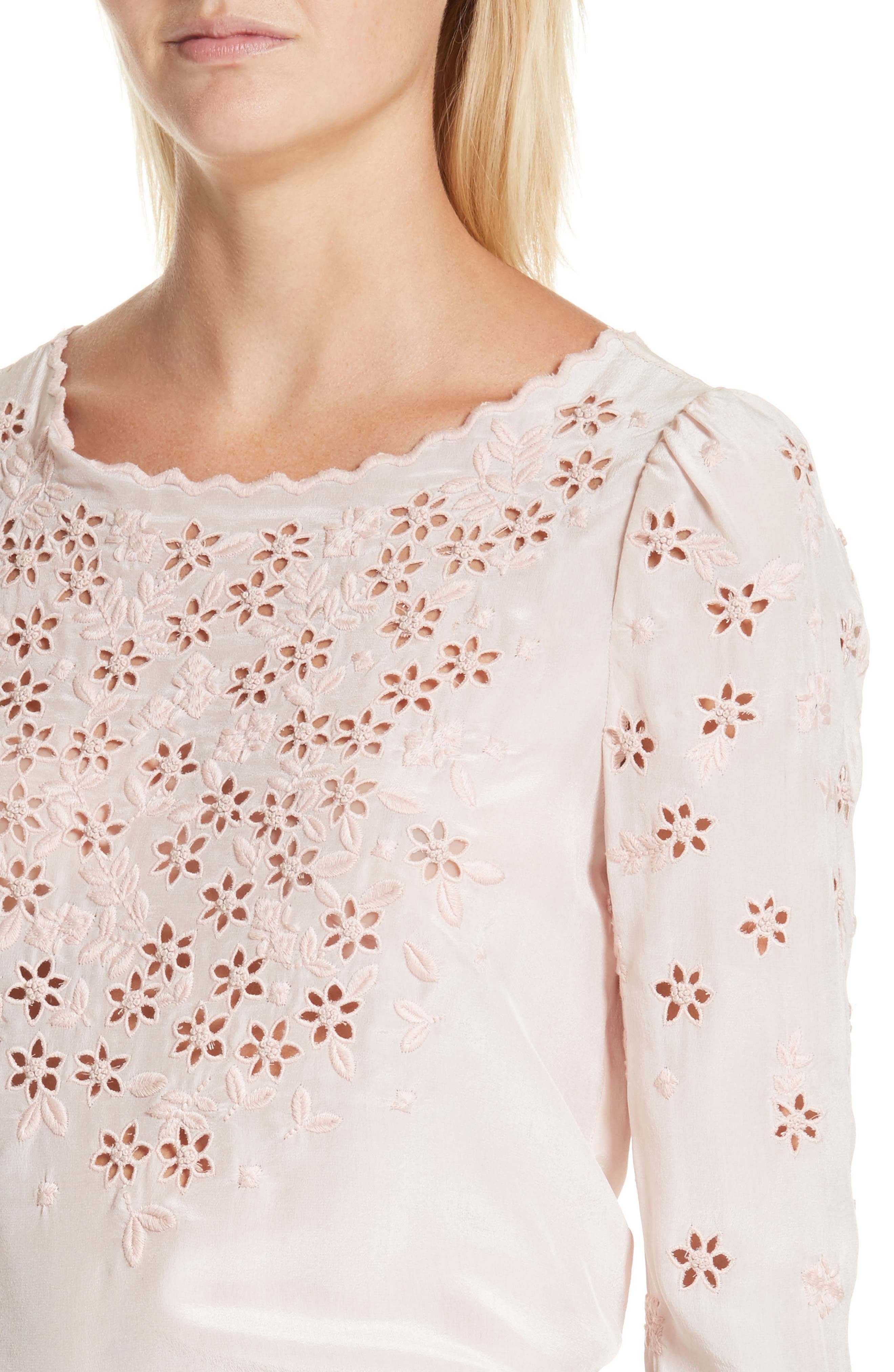 Miranda Embroidered Silk Top,                             Alternate thumbnail 4, color,                             Pink Fairies