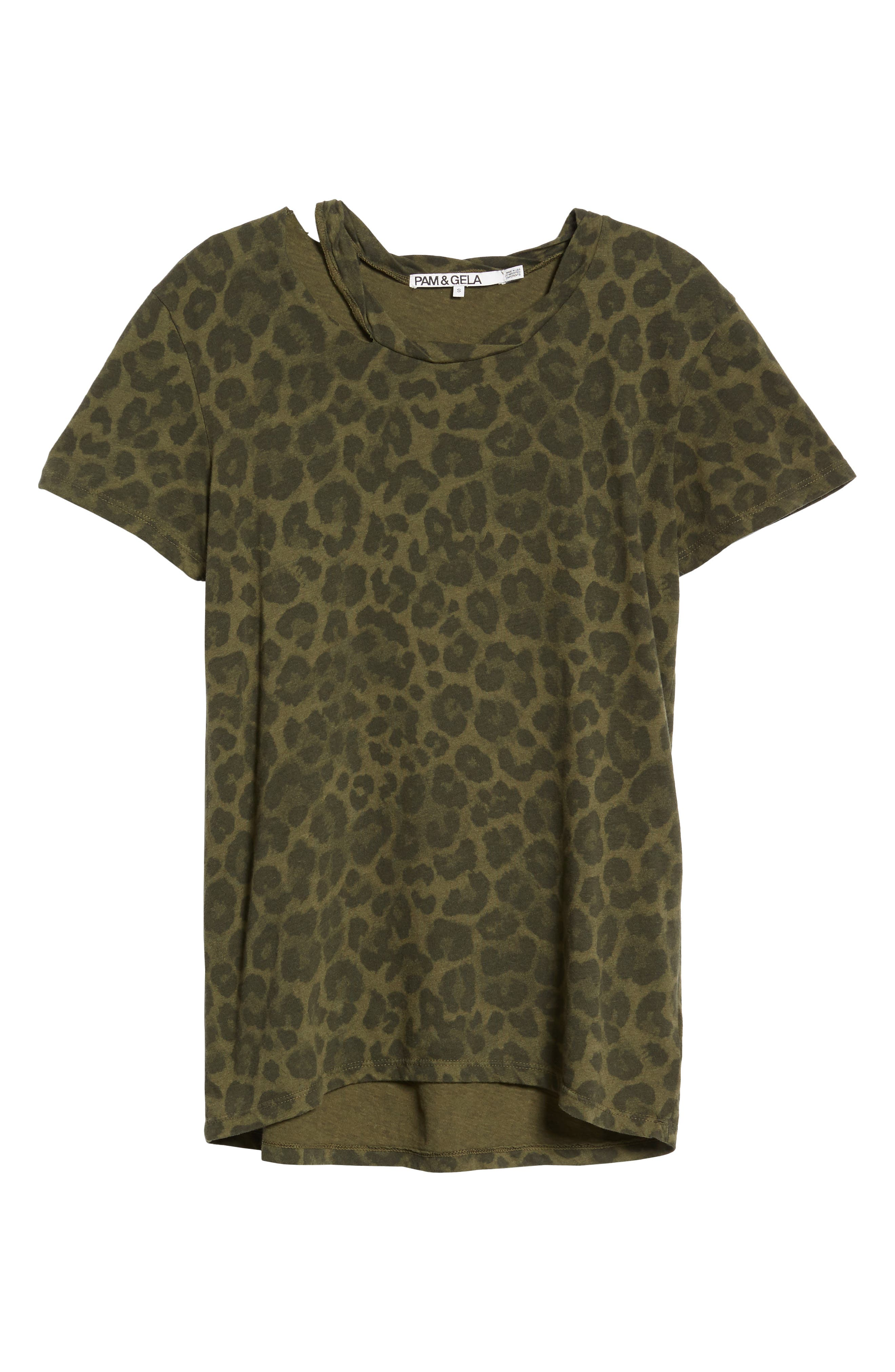 Leopard Print Tee,                             Alternate thumbnail 6, color,                             Olive