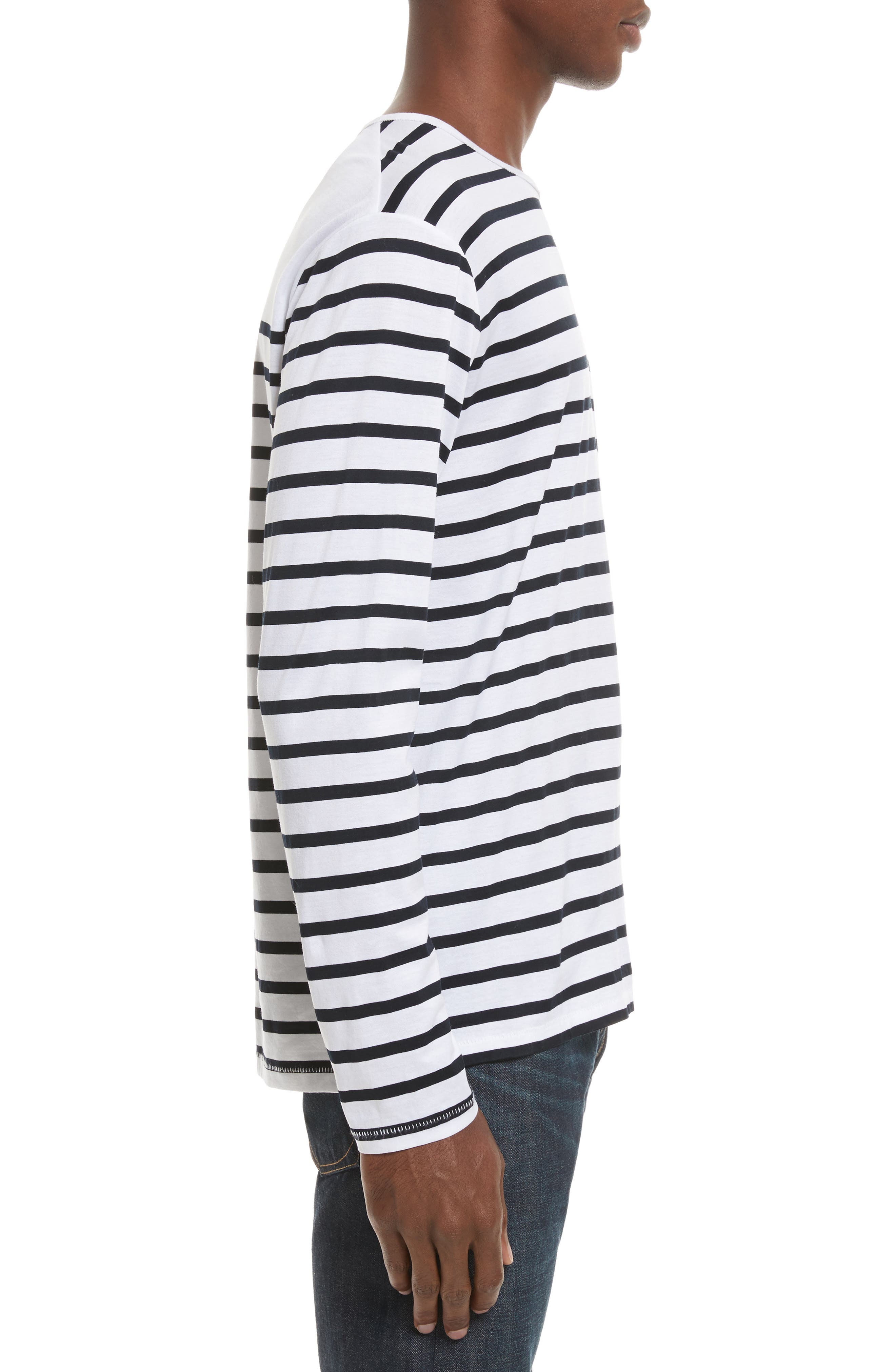 Henry Stripe Long Sleeve T-Shirt,                             Alternate thumbnail 3, color,                             White/ Navy