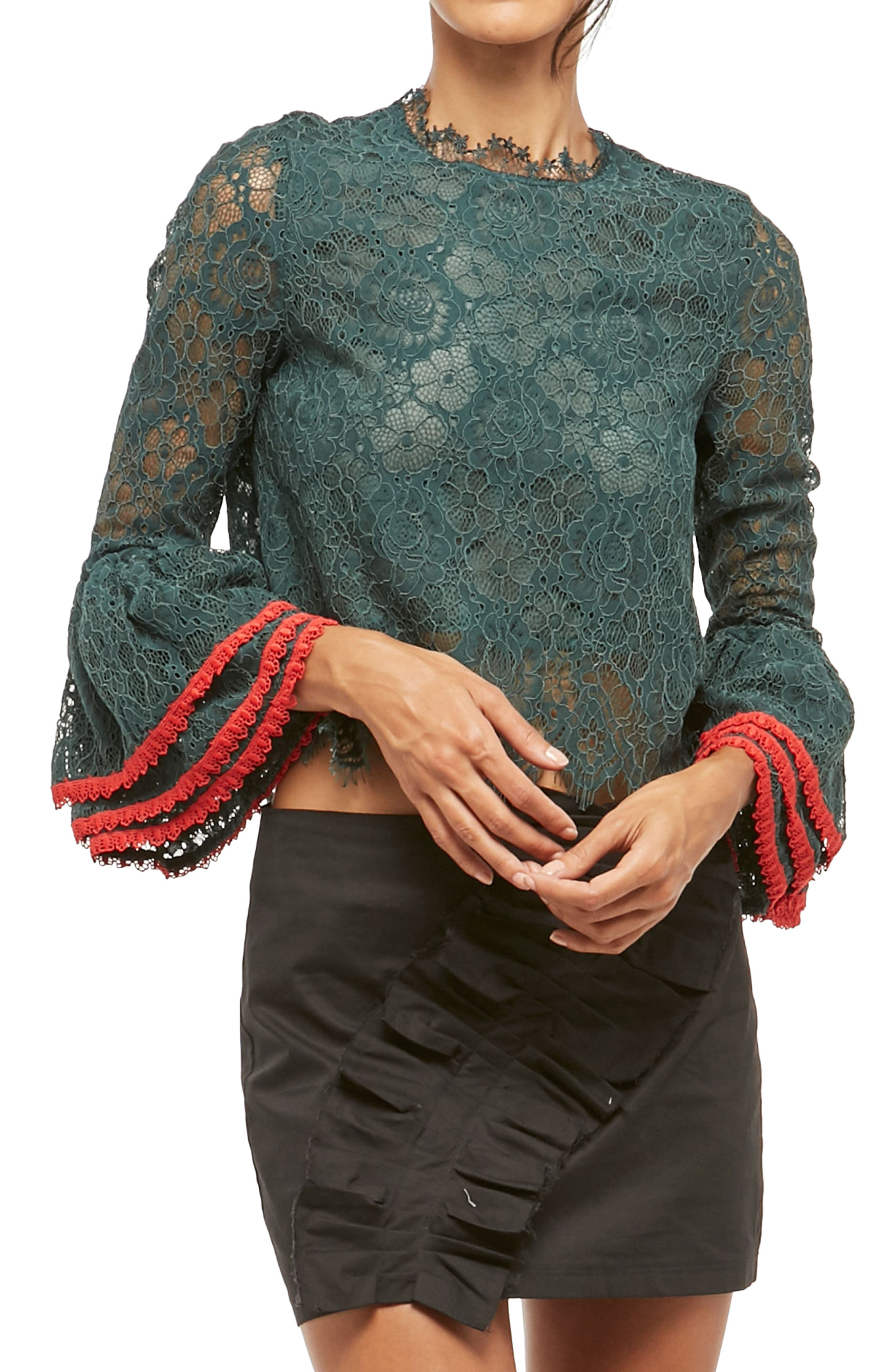 Alpha & Omega Lace Bell Sleeve Blouse