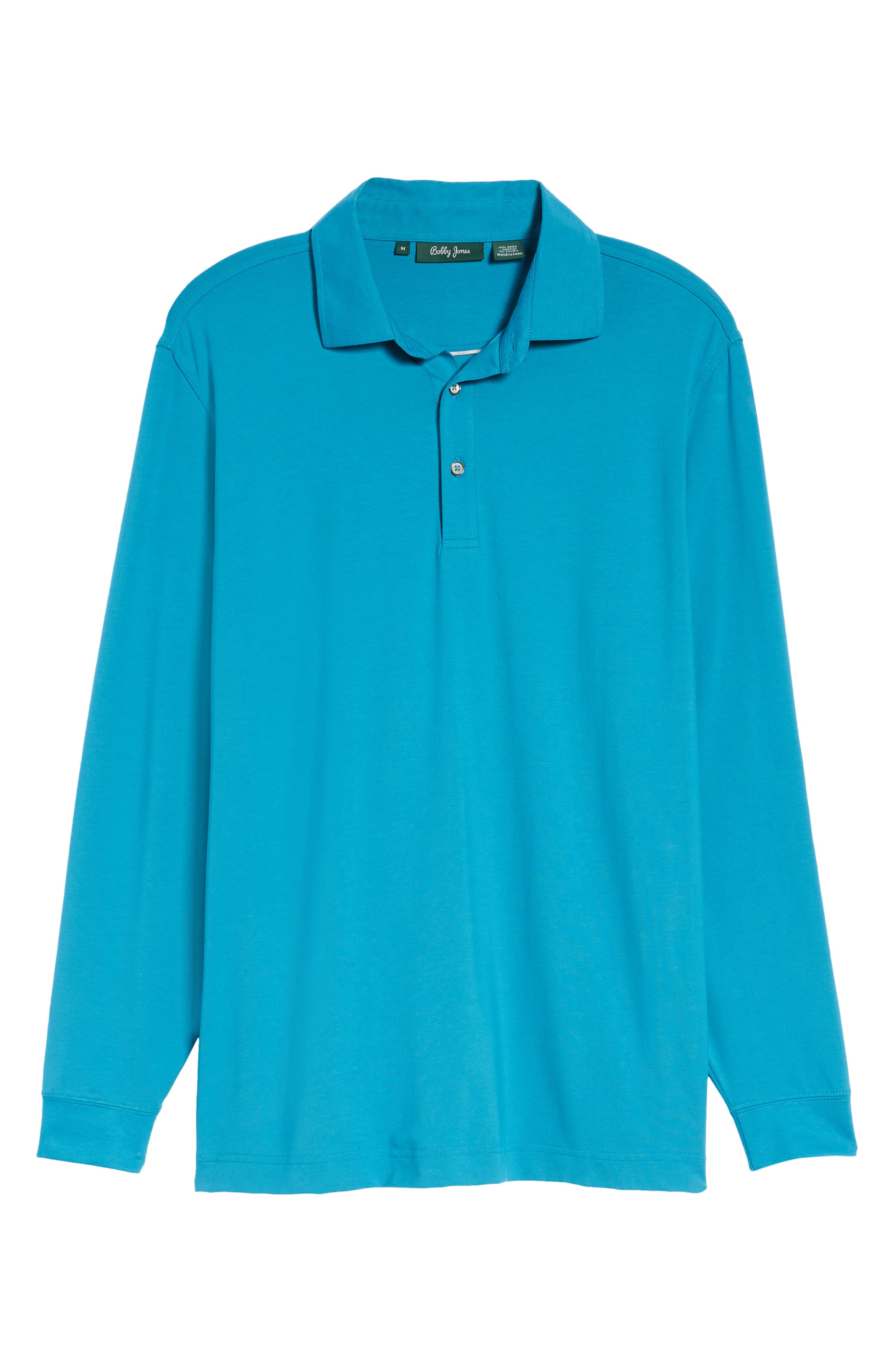 'Liquid Cotton' Long Sleeve Jersey Polo,                             Alternate thumbnail 6, color,                             Santorini