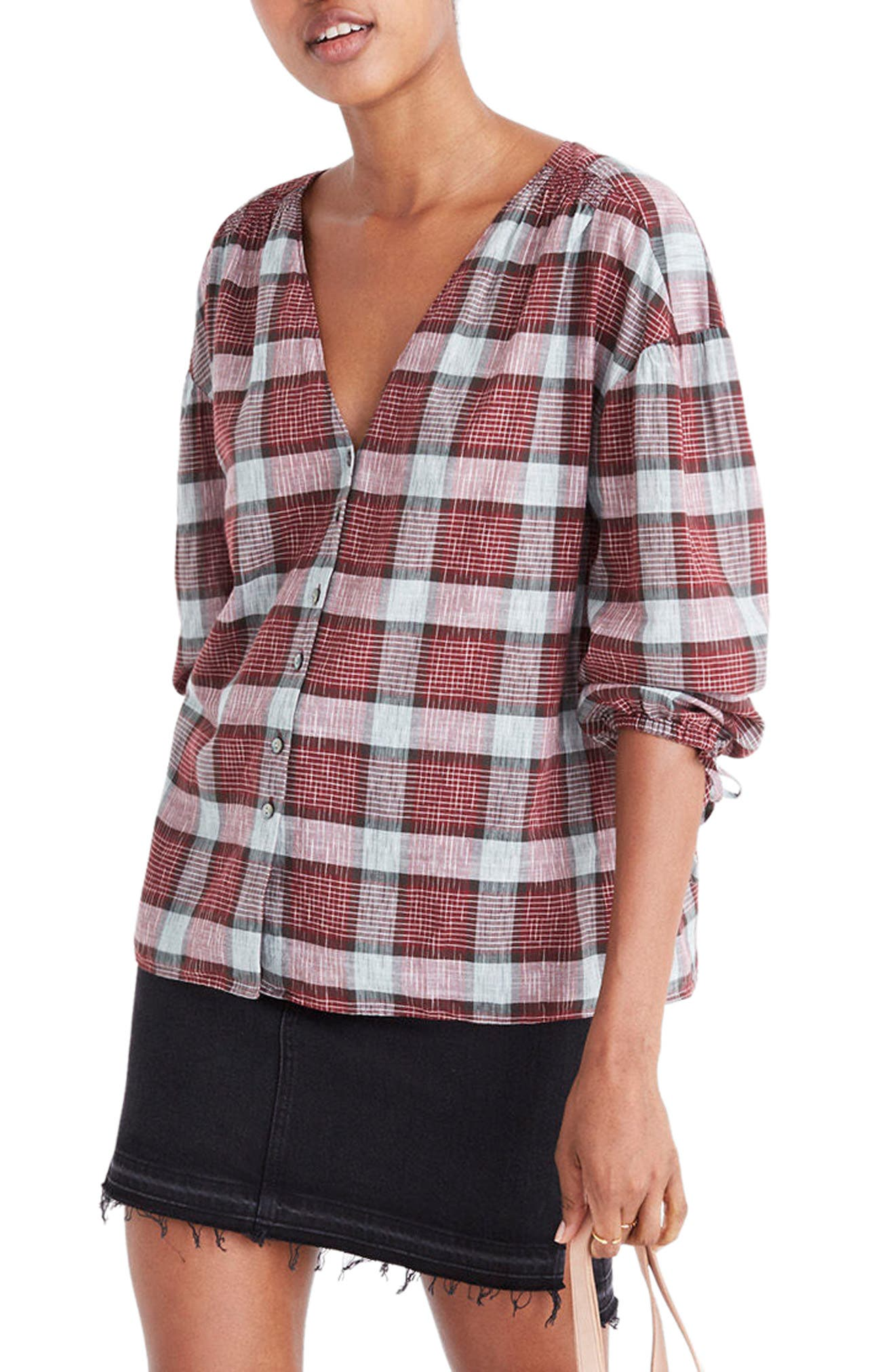 Main Image - Madewell Morningview Plaid Tie Sleeve Shirt