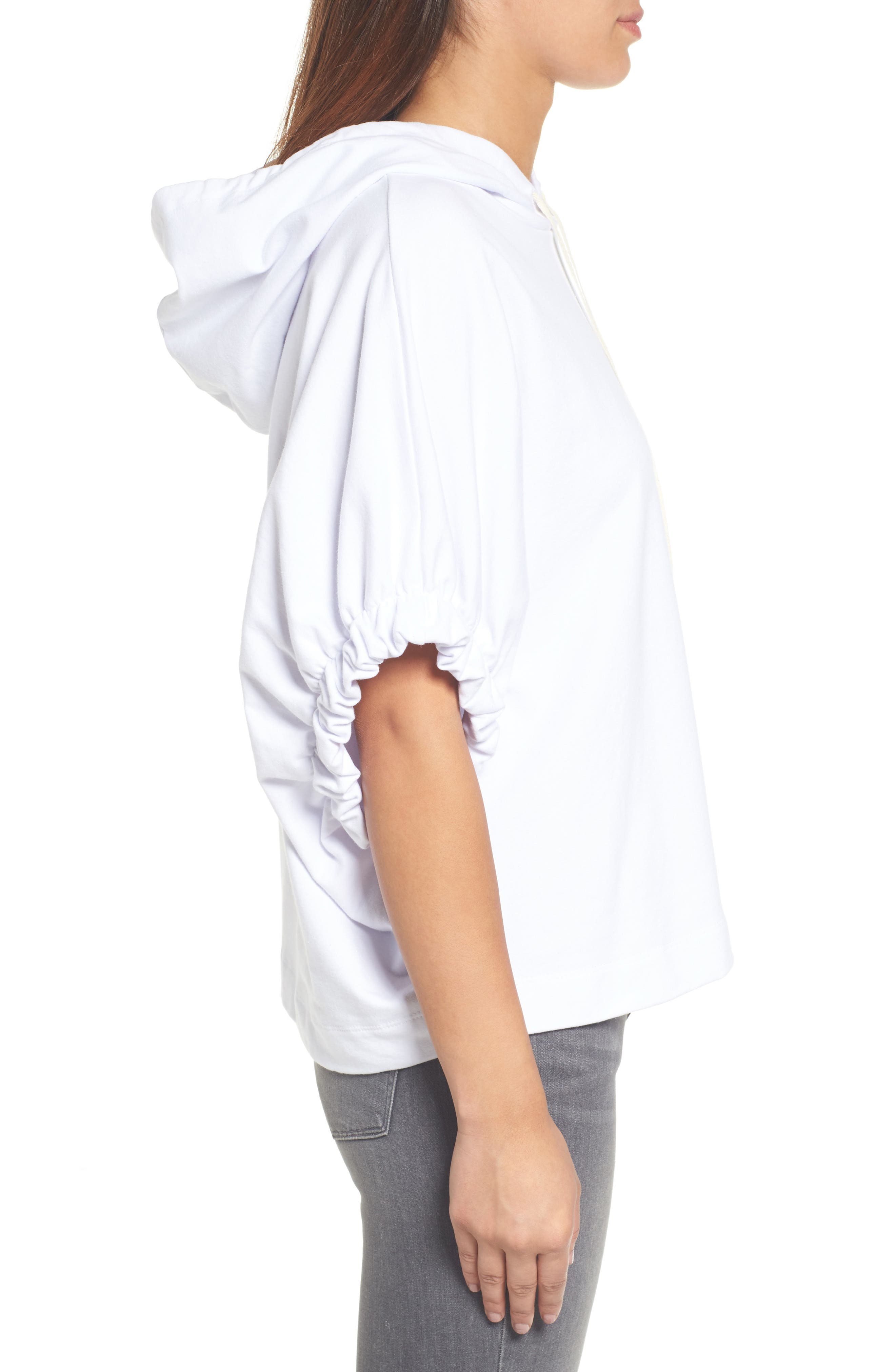 Gathered Sleeve Hoodie,                             Alternate thumbnail 3, color,                             White
