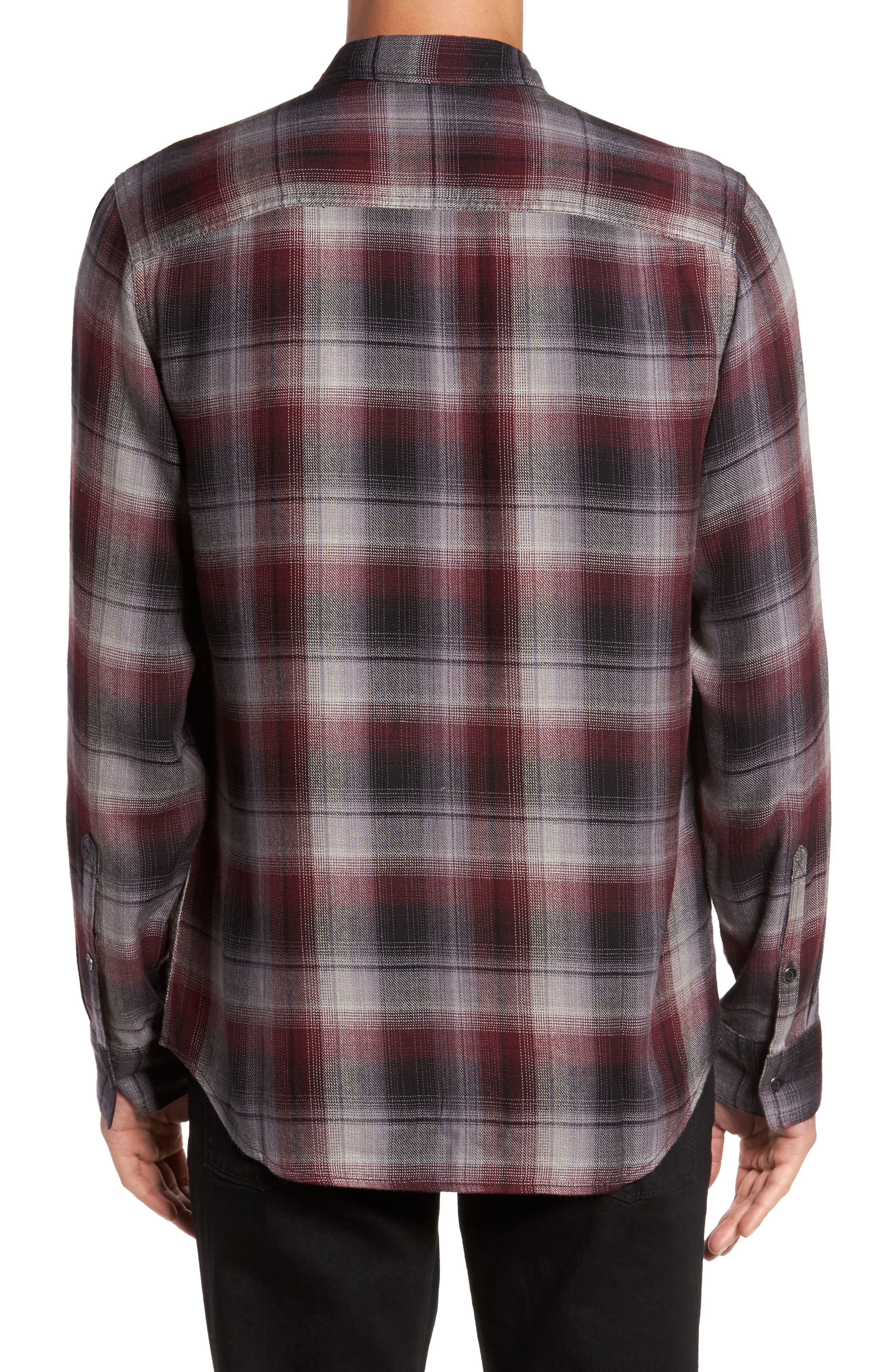 Virgil Ombré Plaid Sport Shirt,                             Alternate thumbnail 2, color,                             Black Burgundy Ombre Plaid