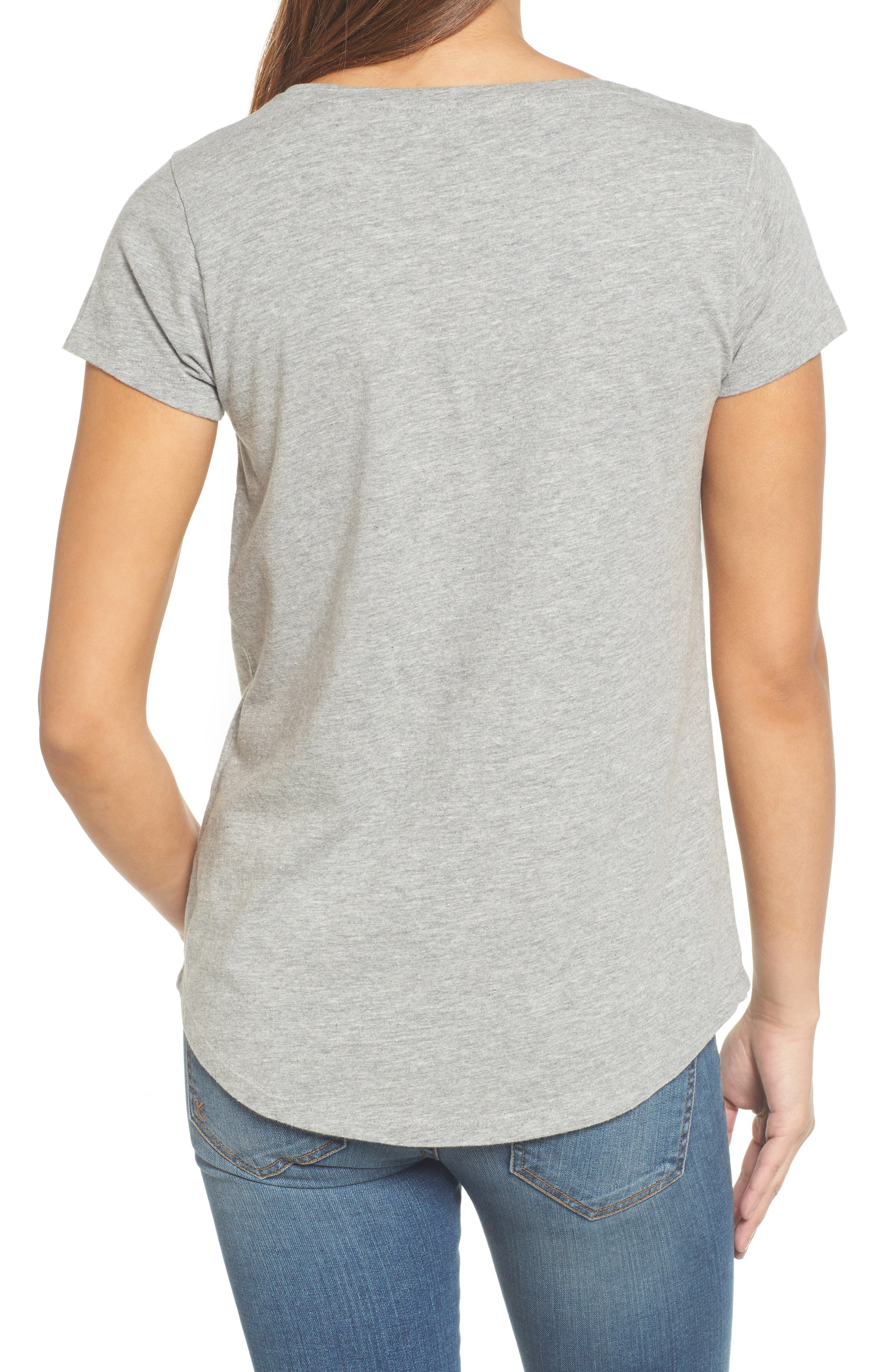 Floral Embroidered Tee,                             Alternate thumbnail 2, color,                             Heather Grey