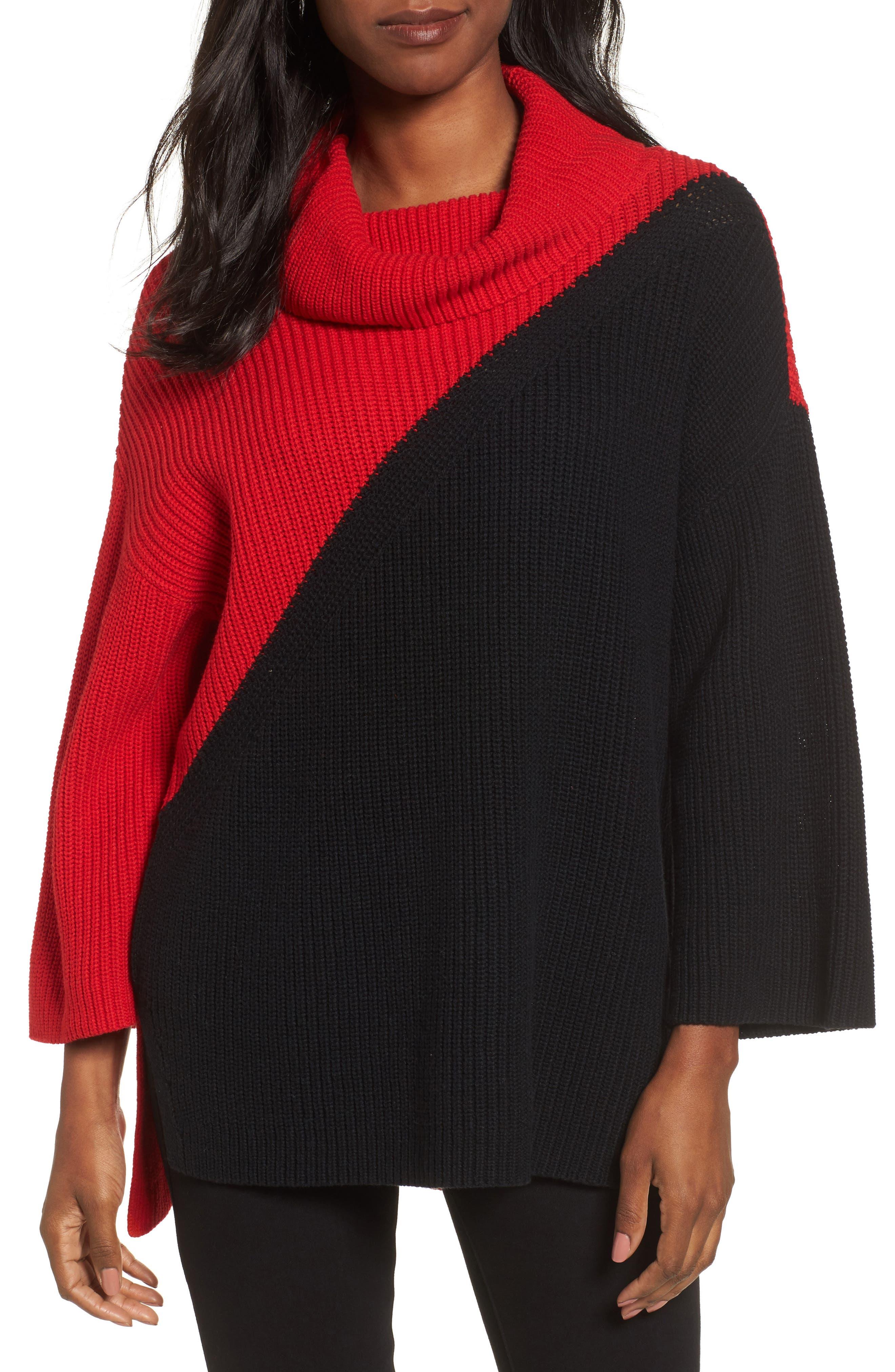 Colorblock Cowl Neck Sweater,                             Main thumbnail 1, color,                             Rouge