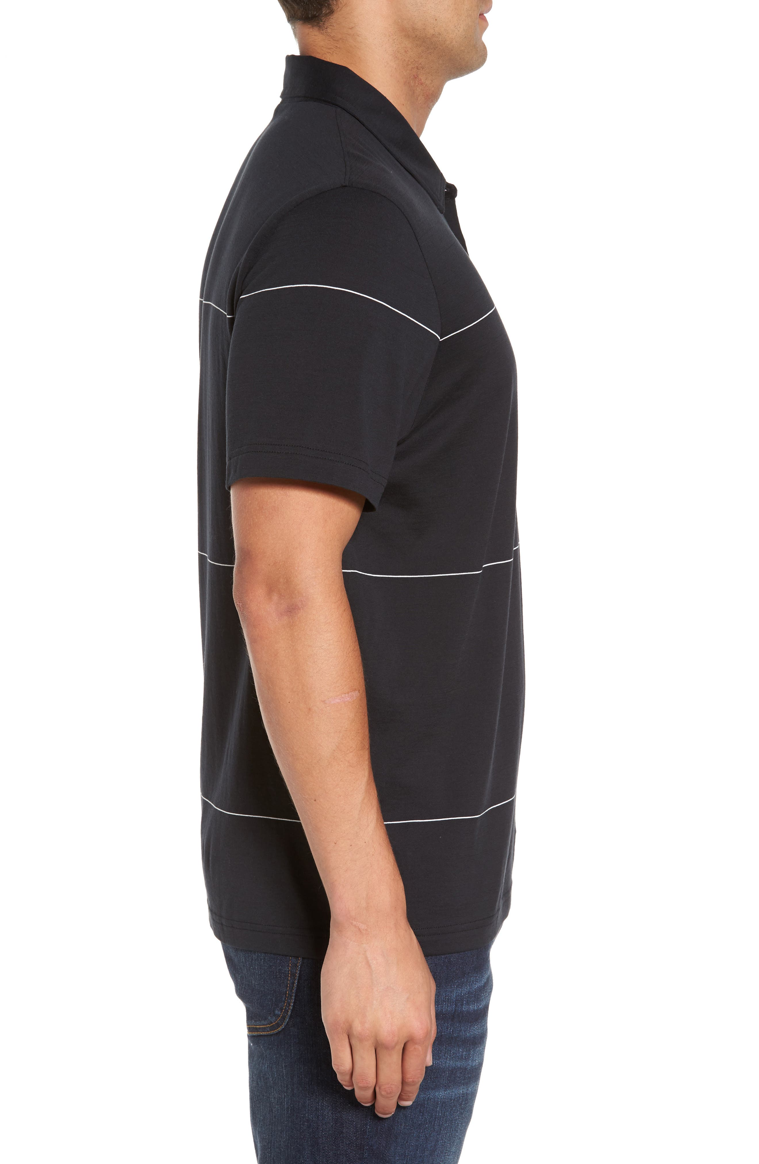 KJ Chalk Stripe Polo,                             Alternate thumbnail 3, color,                             Black