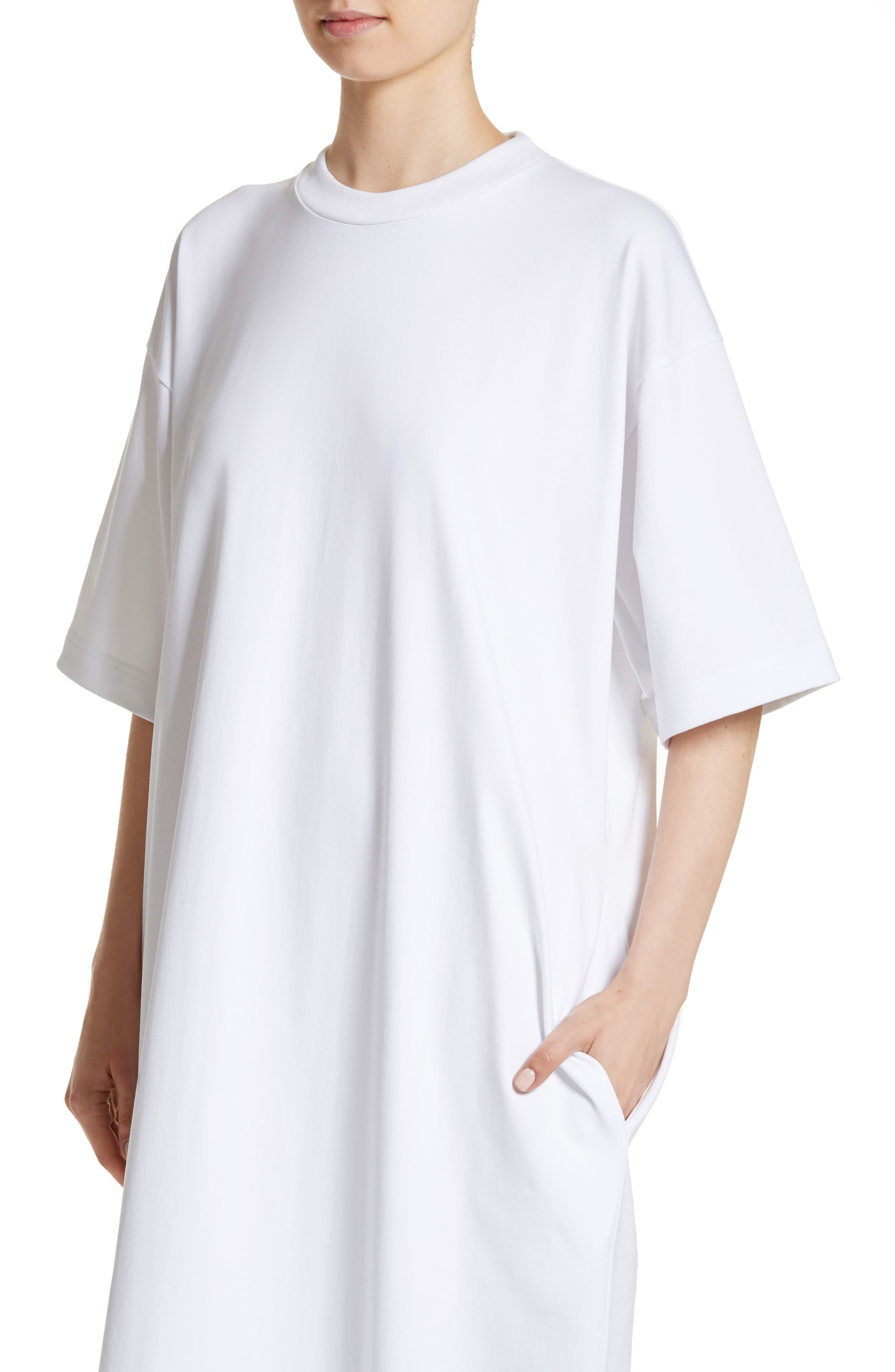 T-Shirt Dress,                             Alternate thumbnail 4, color,                             White
