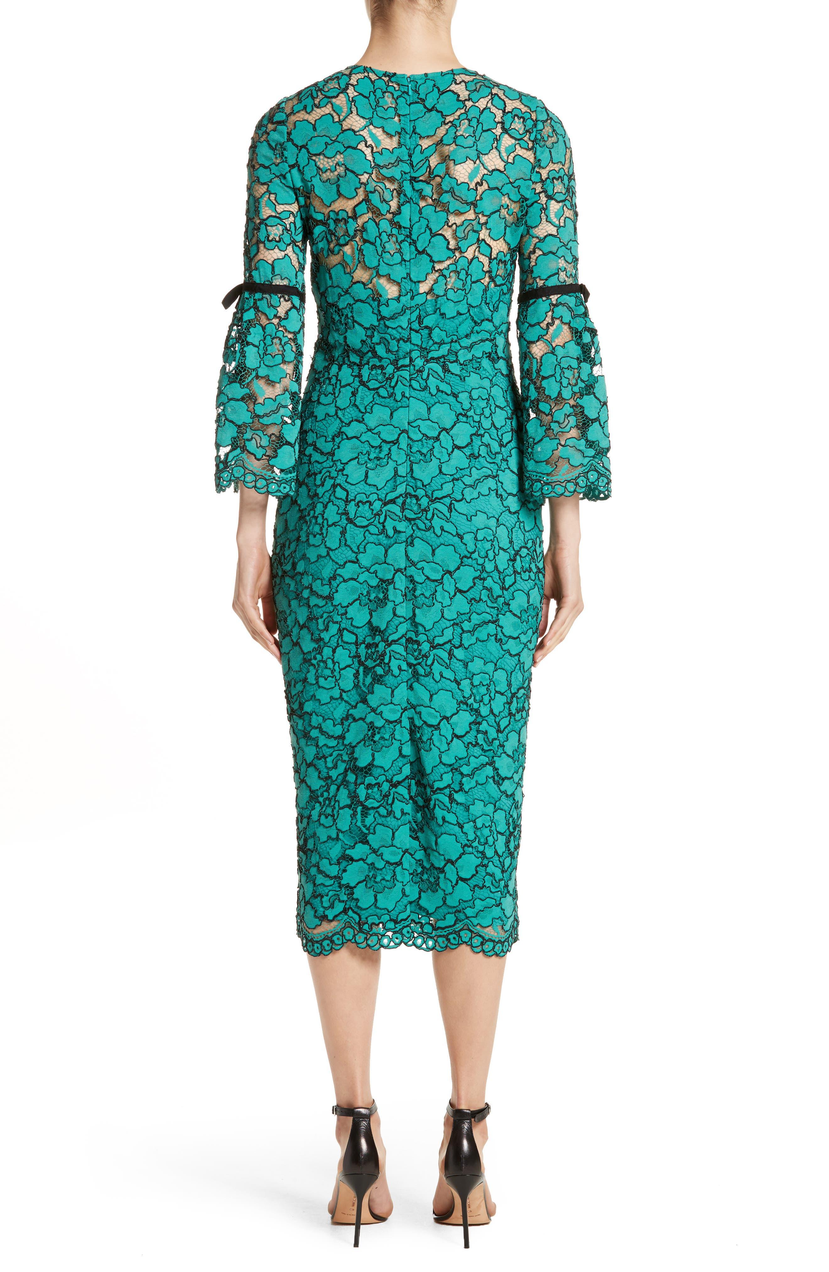 Lace Bell Sleeve Sheath Dress,                             Alternate thumbnail 3, color,                             Jade