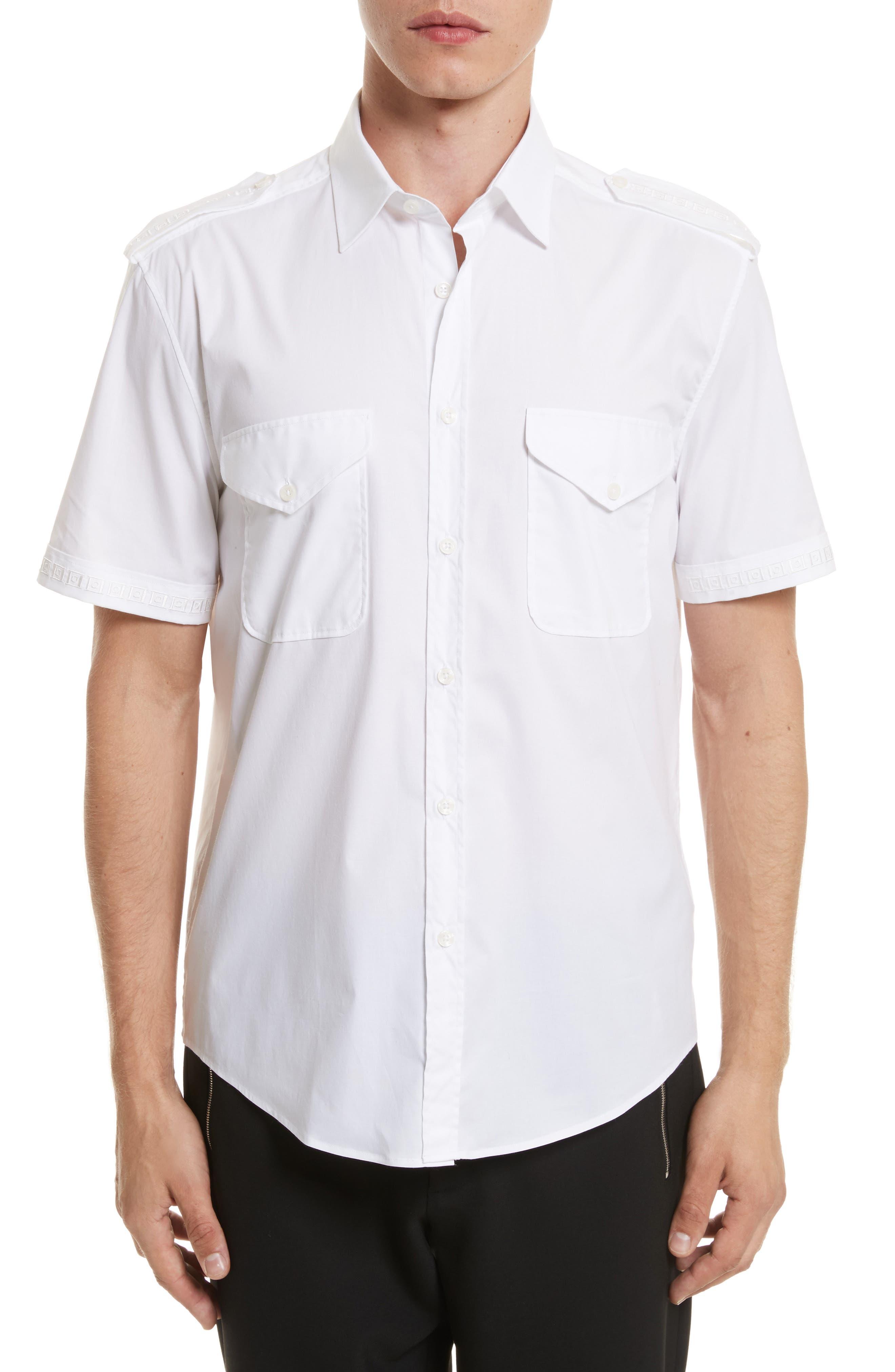 Short Sleeve Military Shirt,                         Main,                         color, White