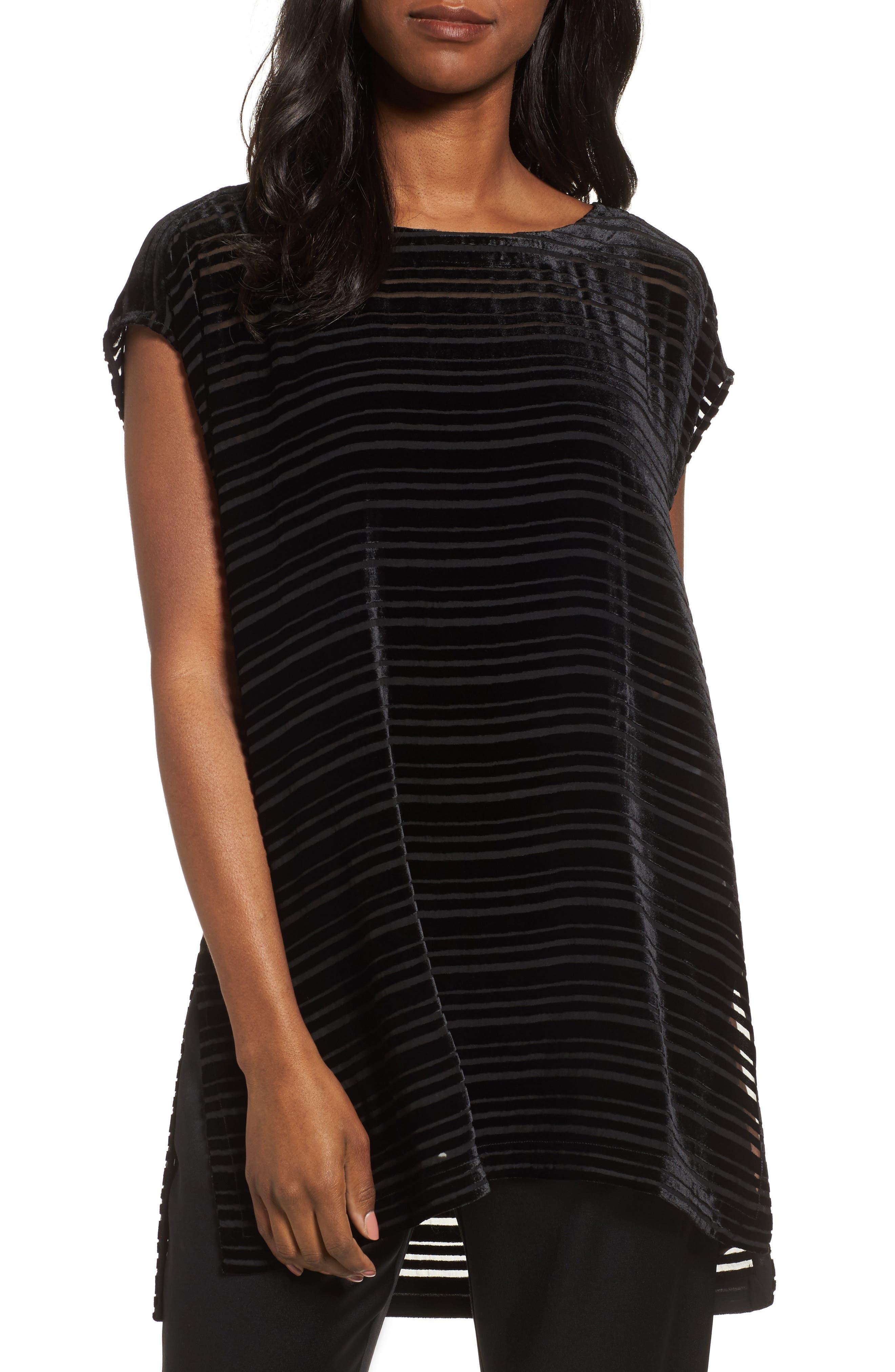 Velvet Stripe Burnout Tunic,                         Main,                         color, Black
