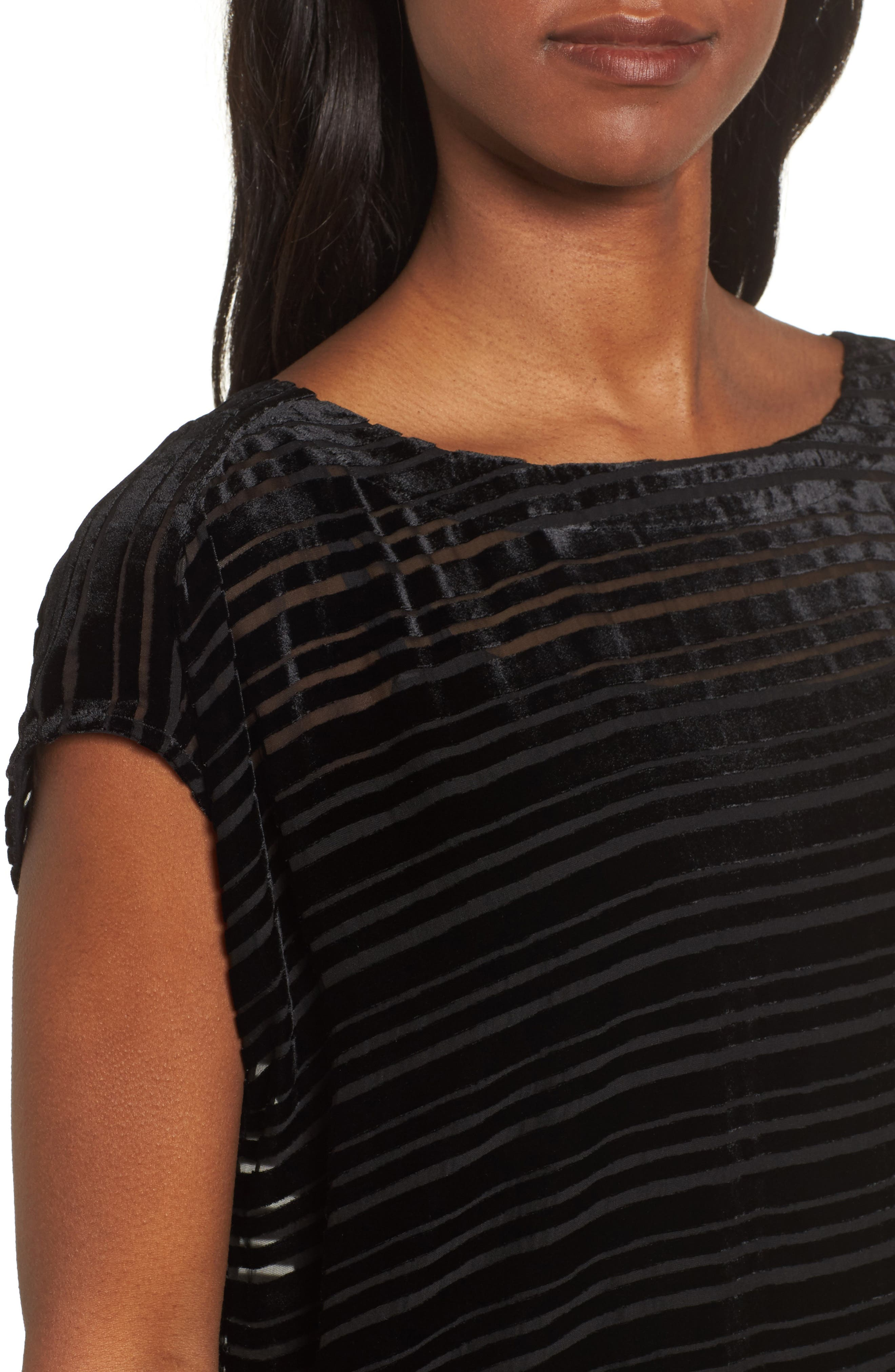Alternate Image 4  - Eileen Fisher Velvet Stripe Burnout Tunic