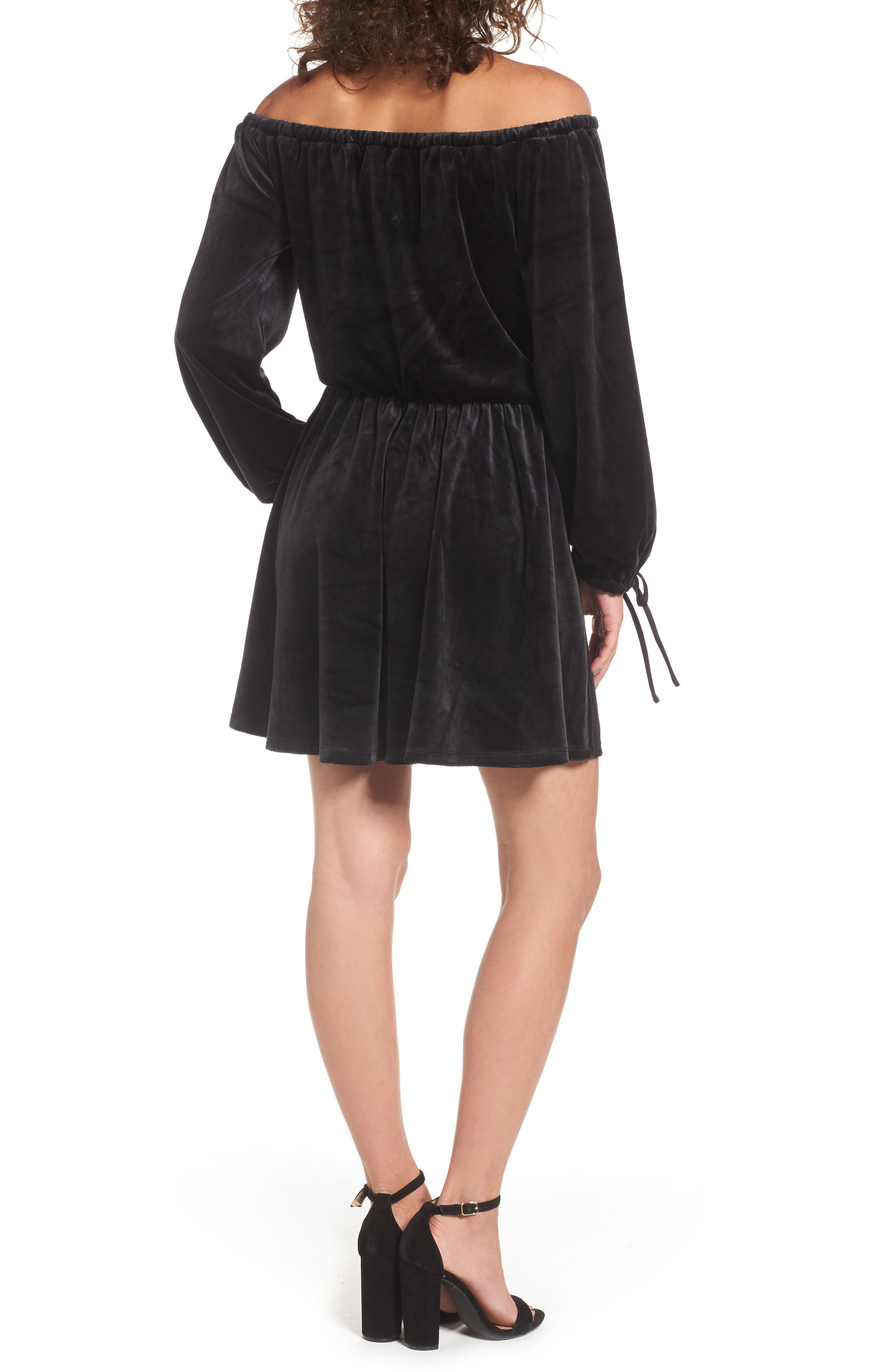 Alternate Image 2  - Juicy Couture Track Off the Shoulder Velour Dress