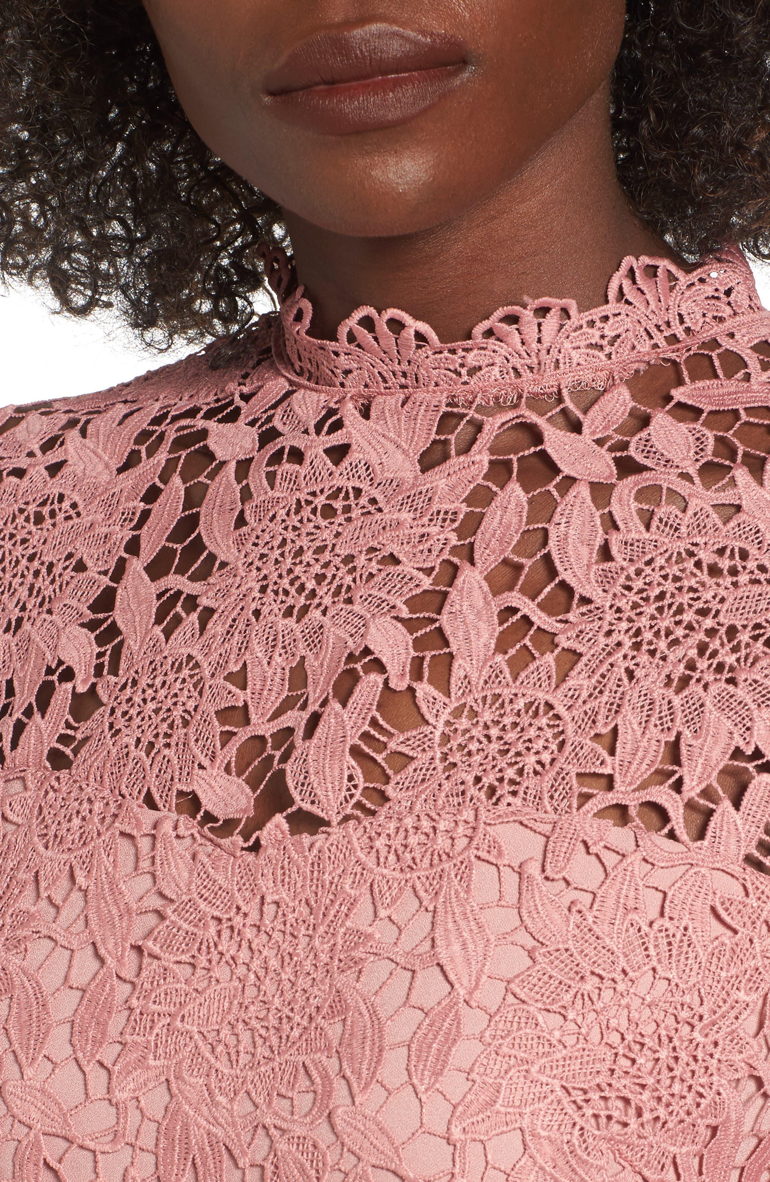 Lace Sheath Dress,                             Alternate thumbnail 4, color,                             Pink