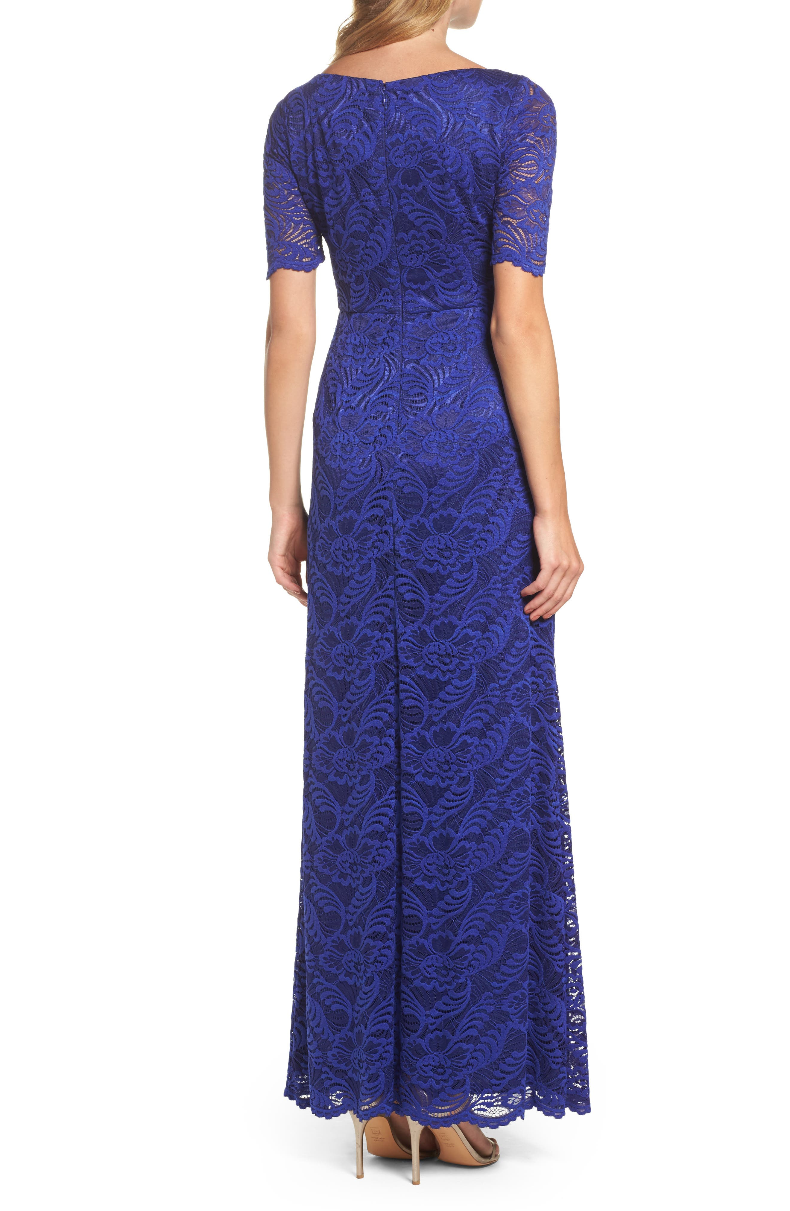 Shirred Stretch Lace Gown,                             Alternate thumbnail 2, color,                             Neptune