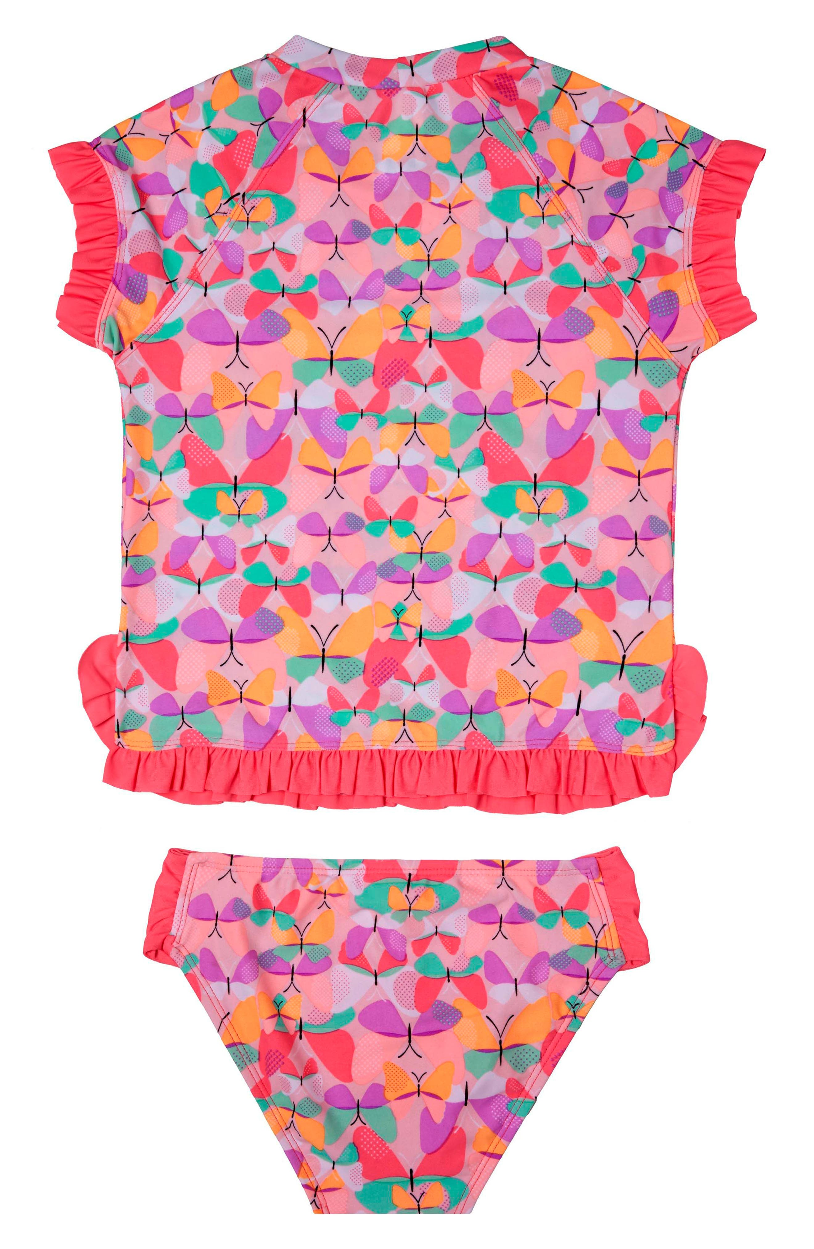 Alternate Image 2  - Hula Star Butterfly Cutie Two-Piece Rashguard Swimsuit (Toddler Girls & Little Girls)