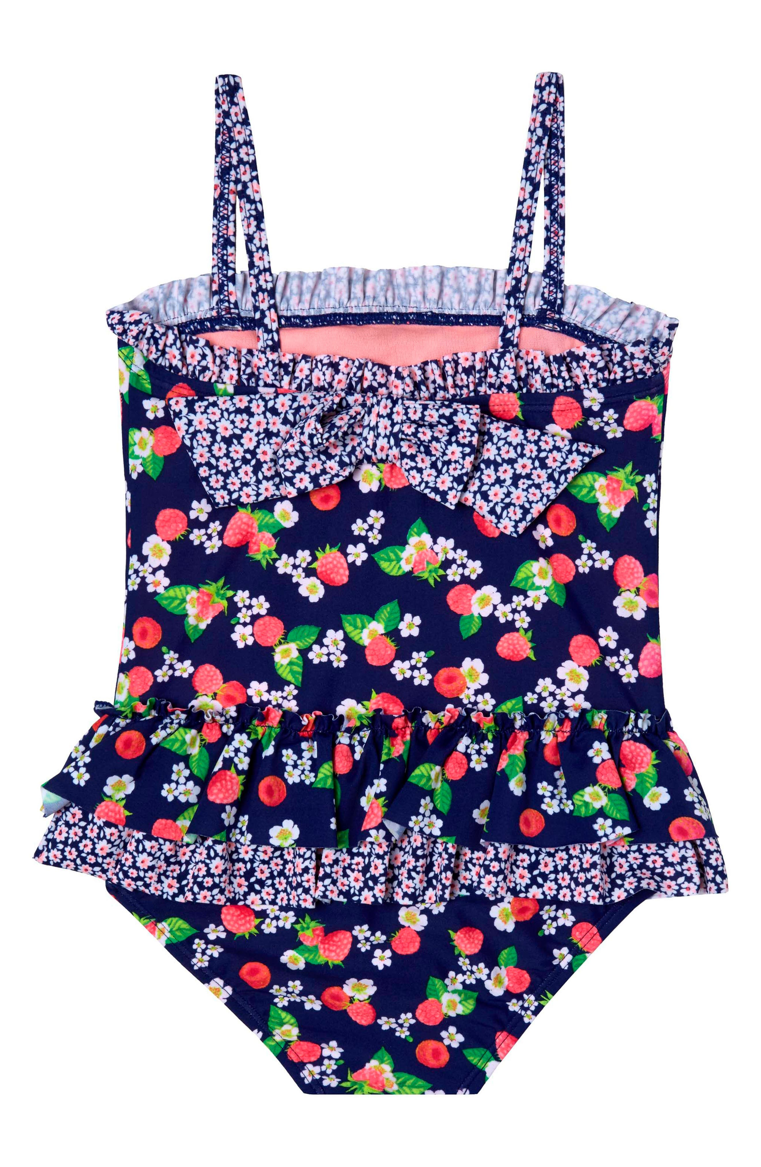 Sweet Raspberries One-Piece Swimsuit,                             Alternate thumbnail 3, color,                             Navy