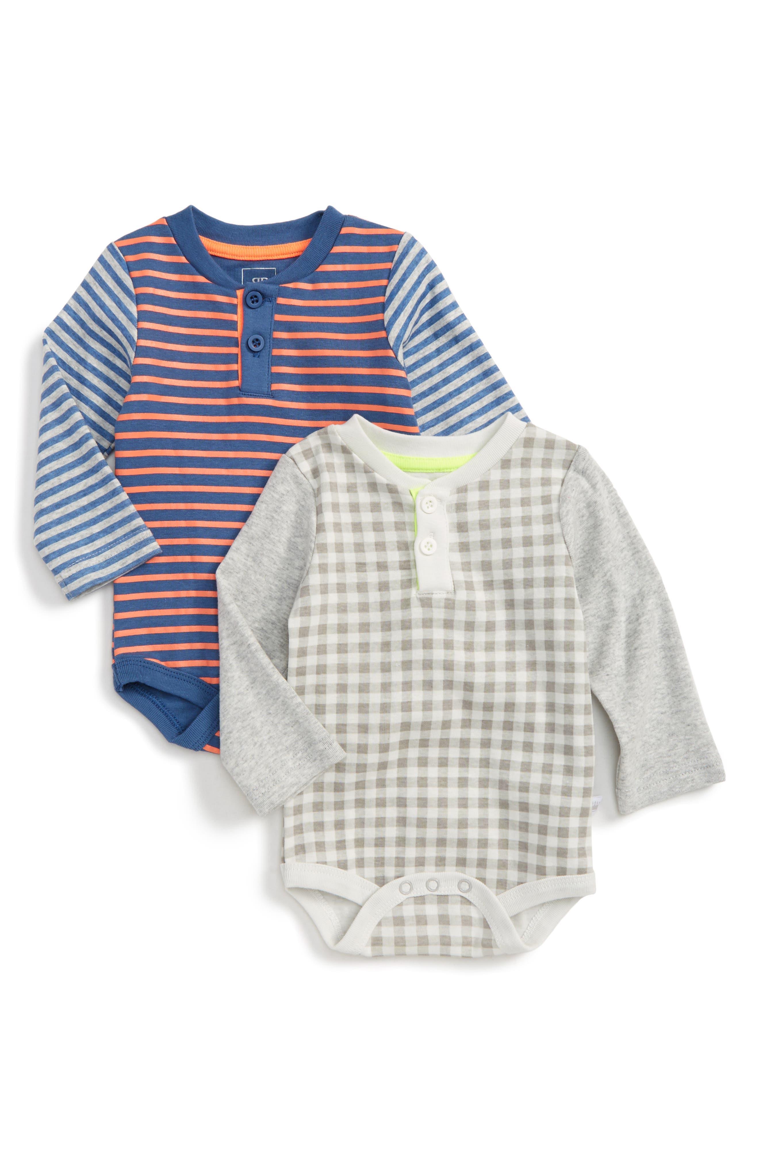 2-Pack Henley Bodysuits,                         Main,                         color, Blue Multi