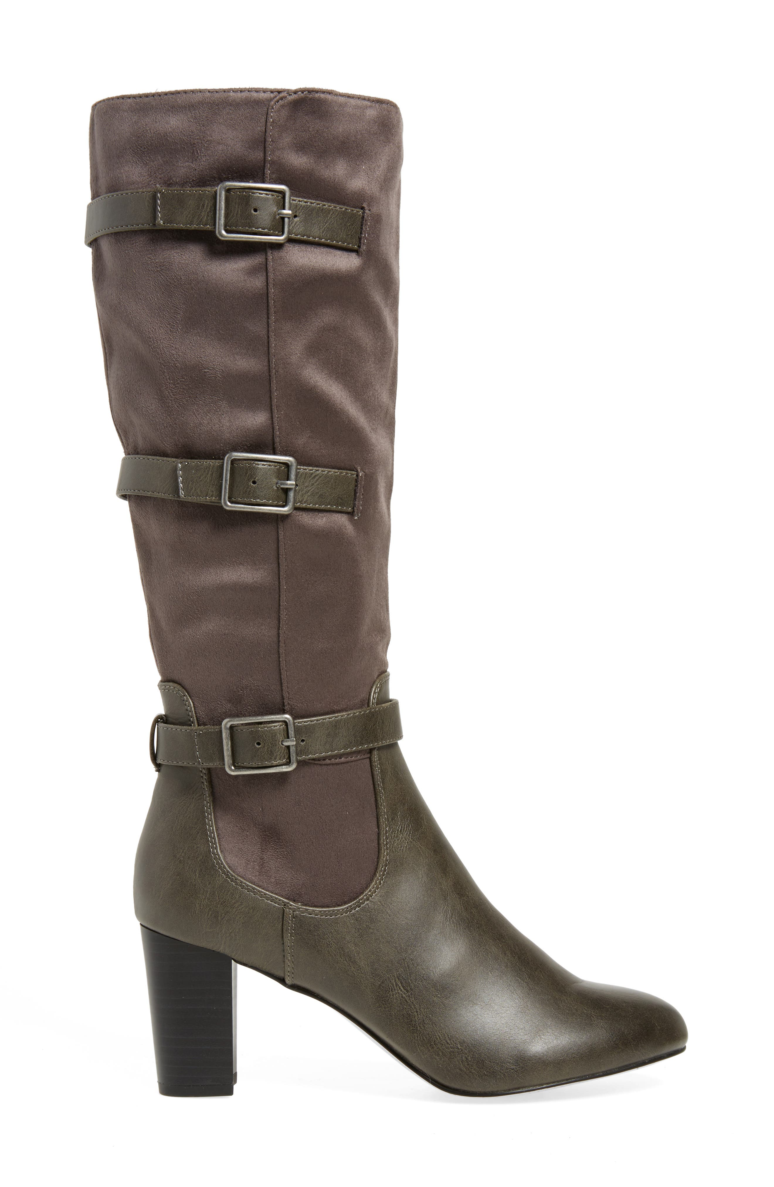 Talina II Belted Knee High Boot,                             Alternate thumbnail 3, color,                             Grey Suede