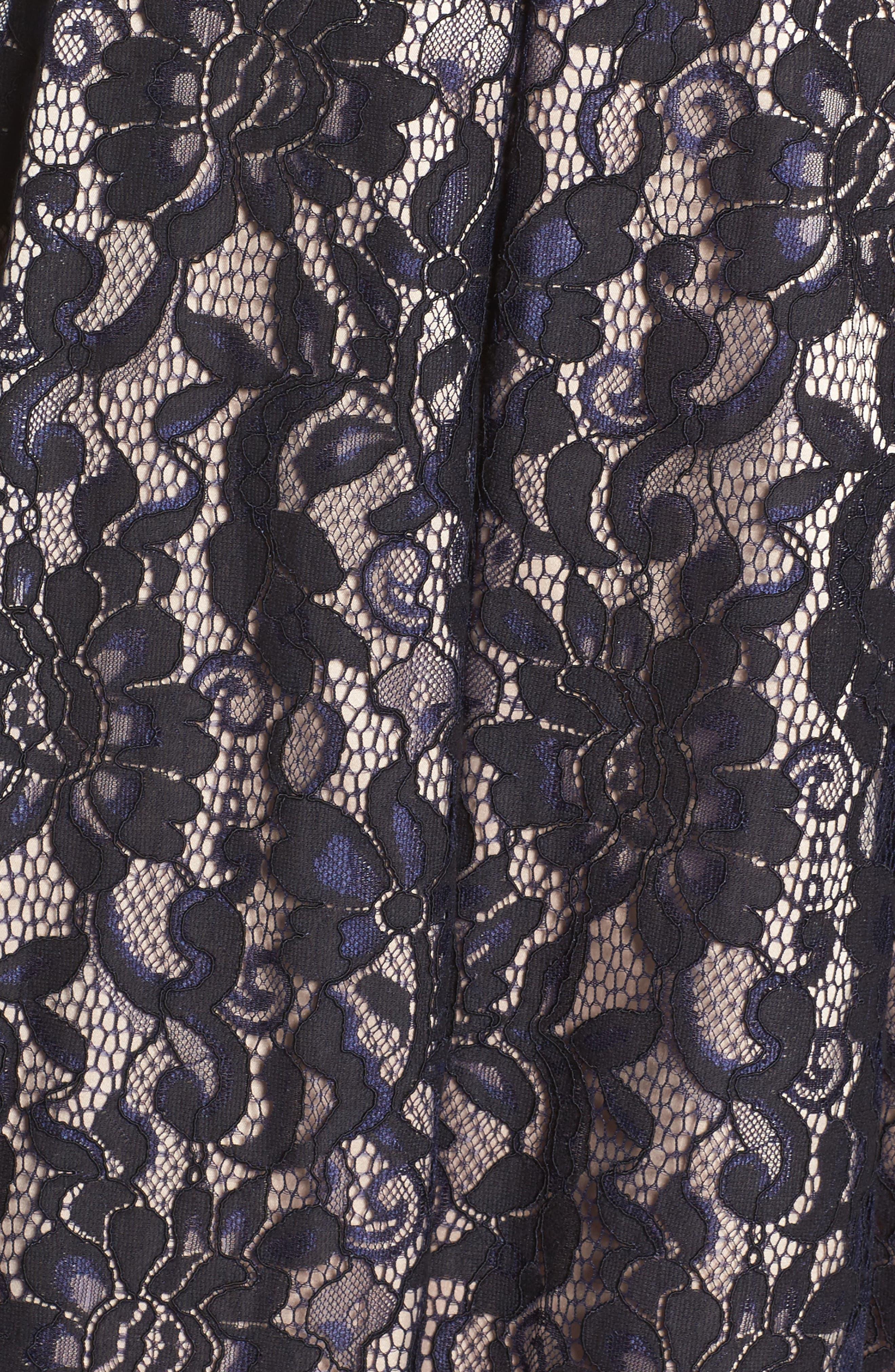 One-Shoulder Lace Dress,                             Alternate thumbnail 5, color,                             Navy