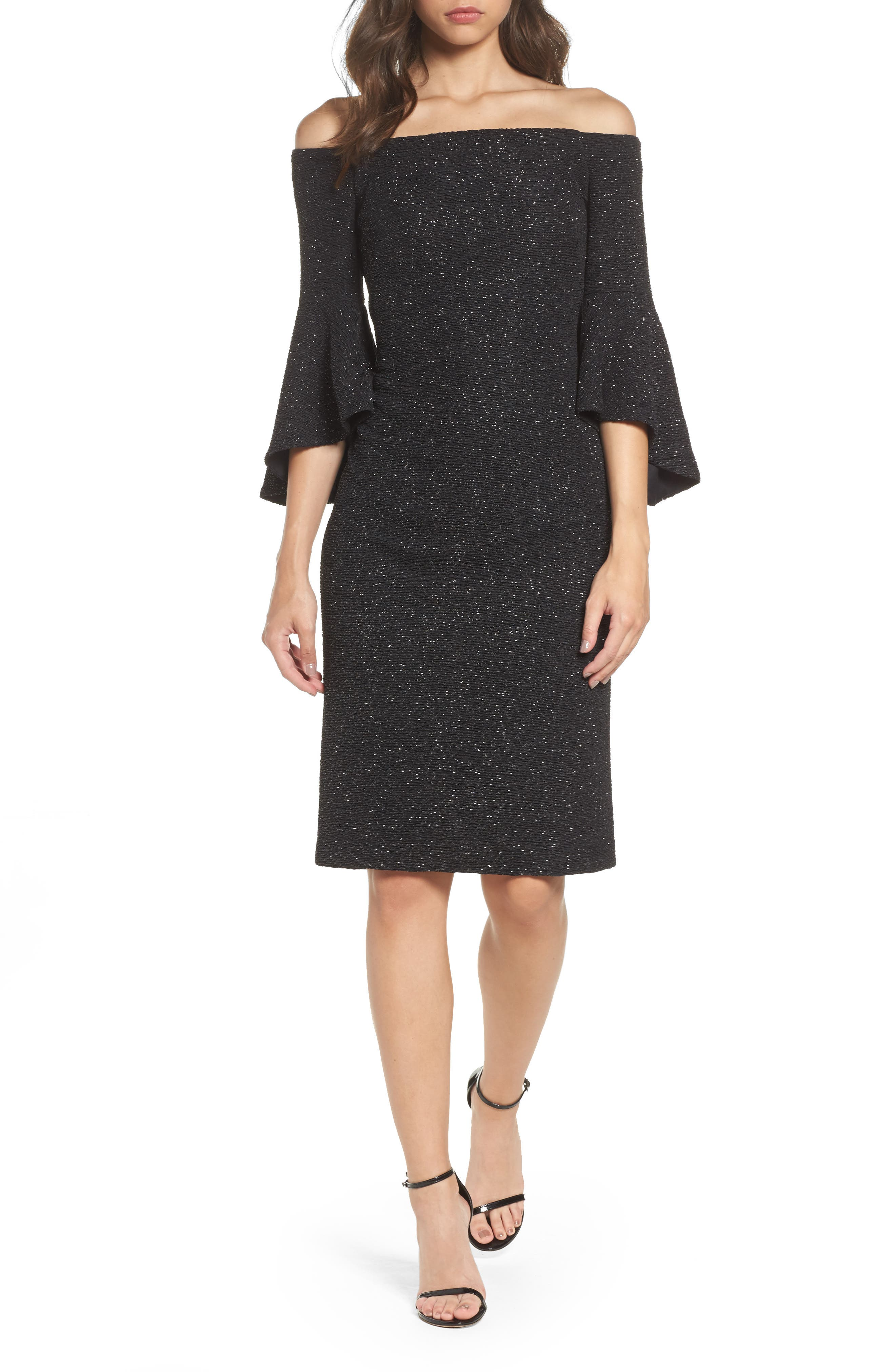 Off the Shoulder Bell Sleeve Sheath Dress,                         Main,                         color, Black/ Silver