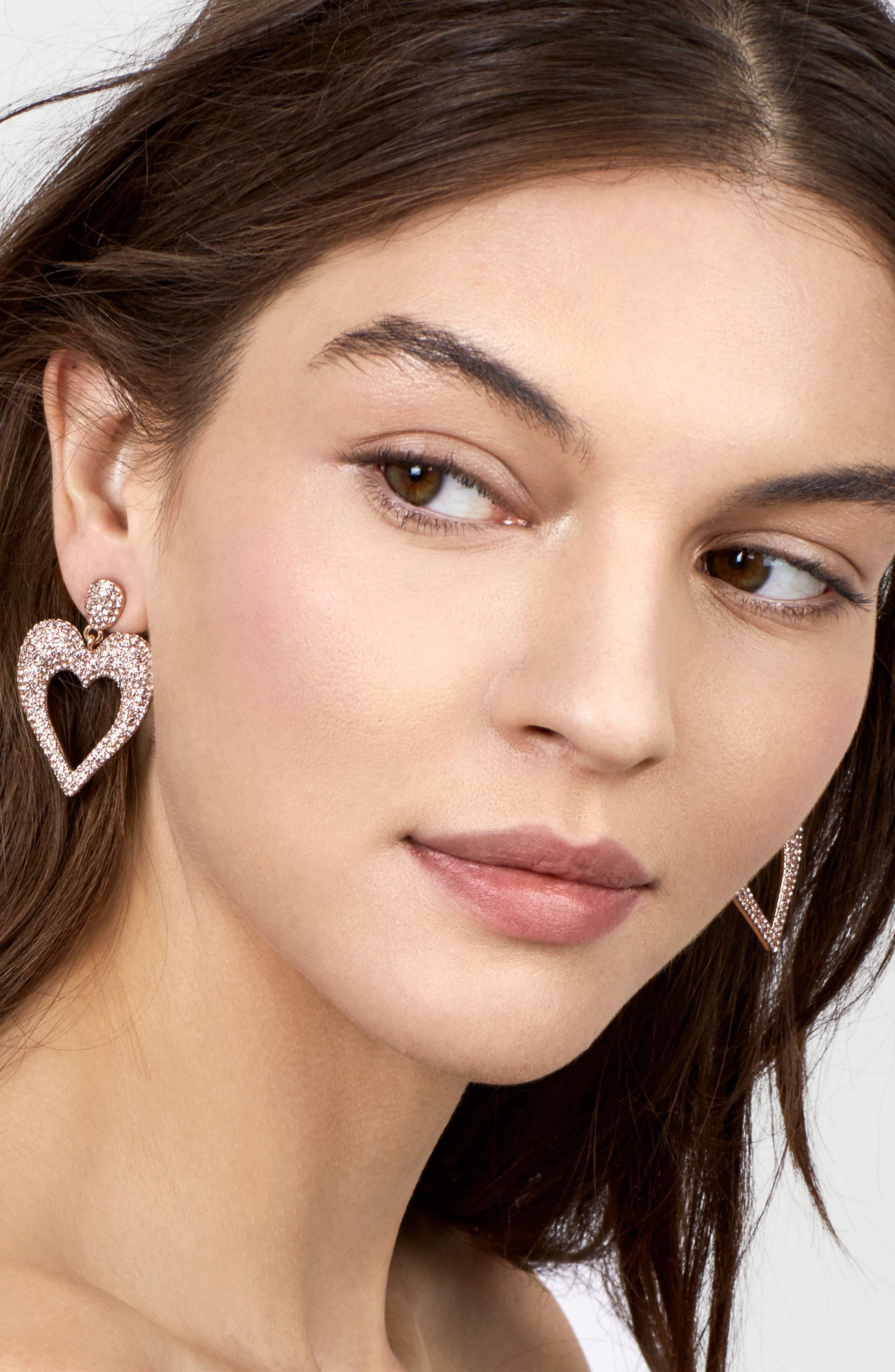 Amara Pavé Heart Drop Earrings,                             Alternate thumbnail 2, color,                             Rose Gold