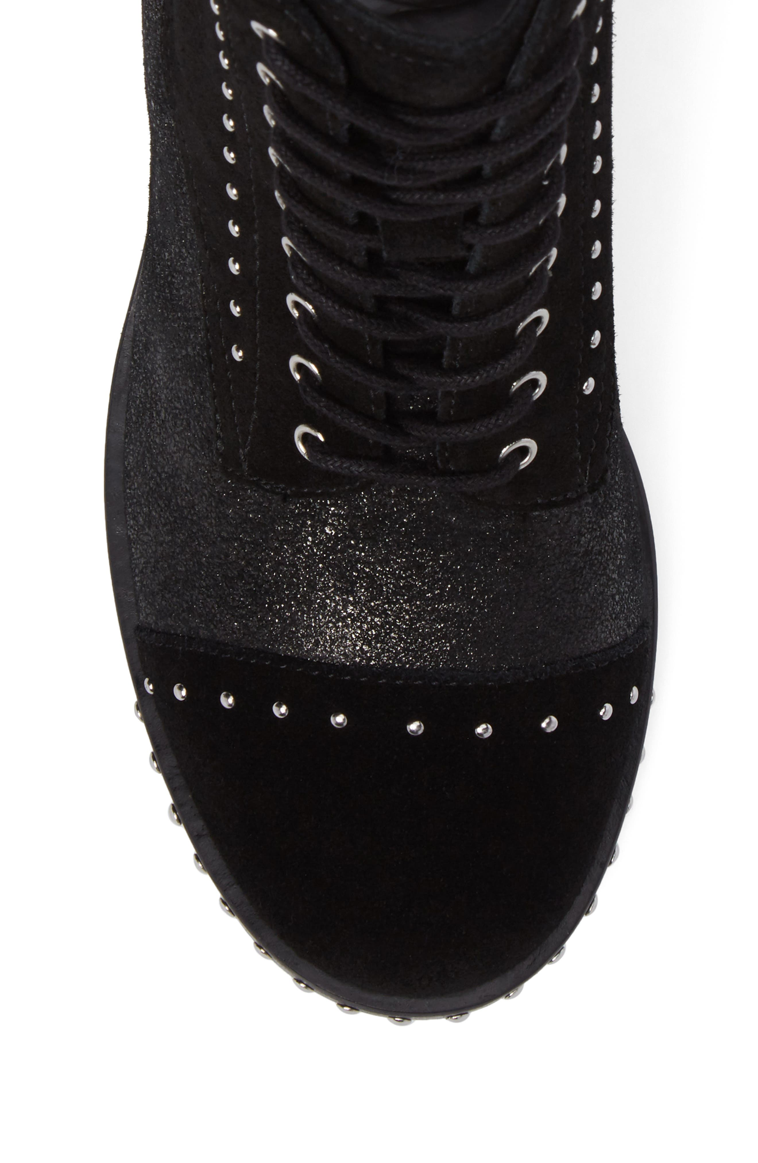 Cassidey Studded Cap Toe Bootie,                             Alternate thumbnail 5, color,                             Black Suede