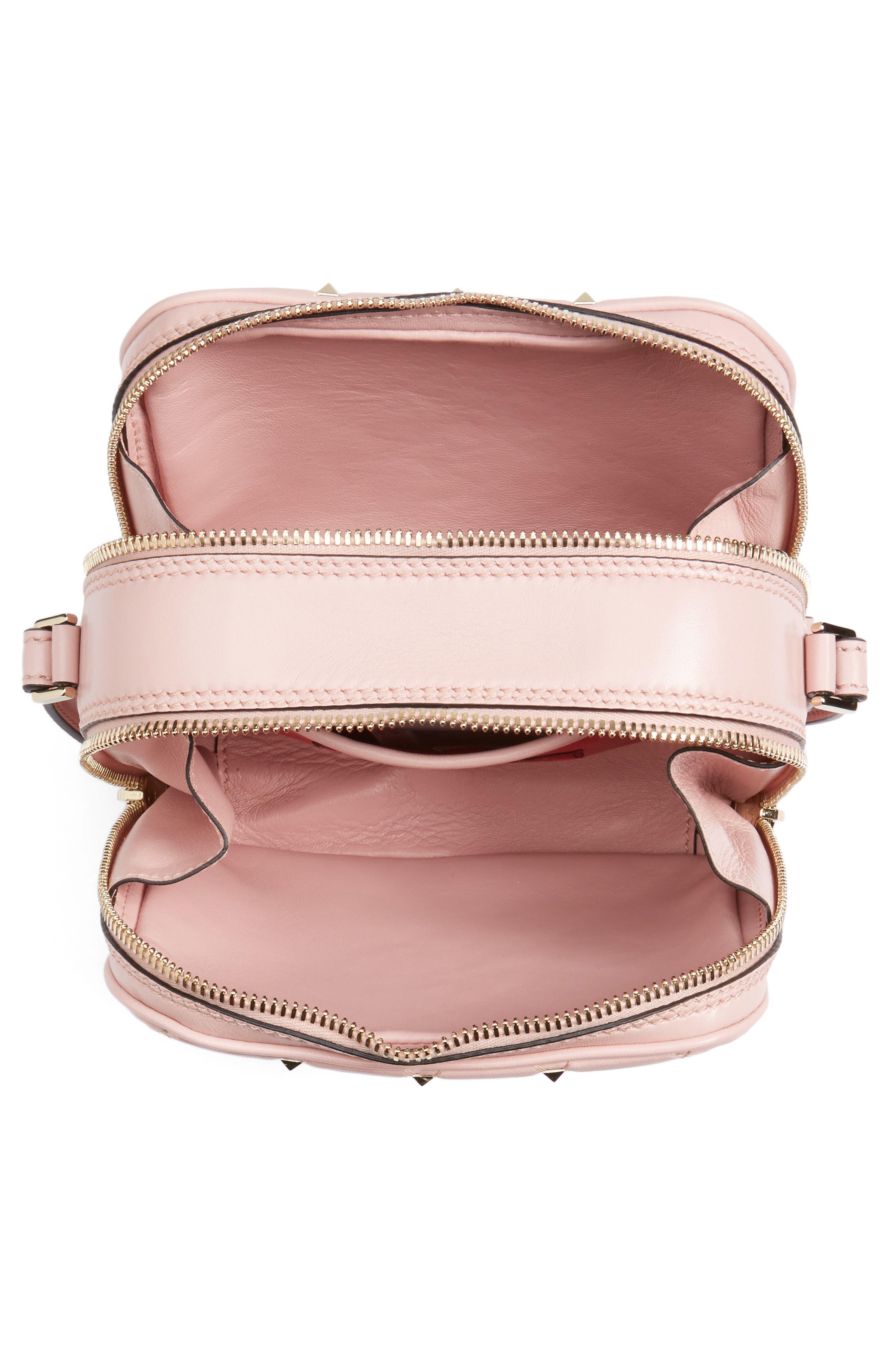 Rockstud Leather Camera Crossbody Bag,                             Alternate thumbnail 4, color,                             Pink