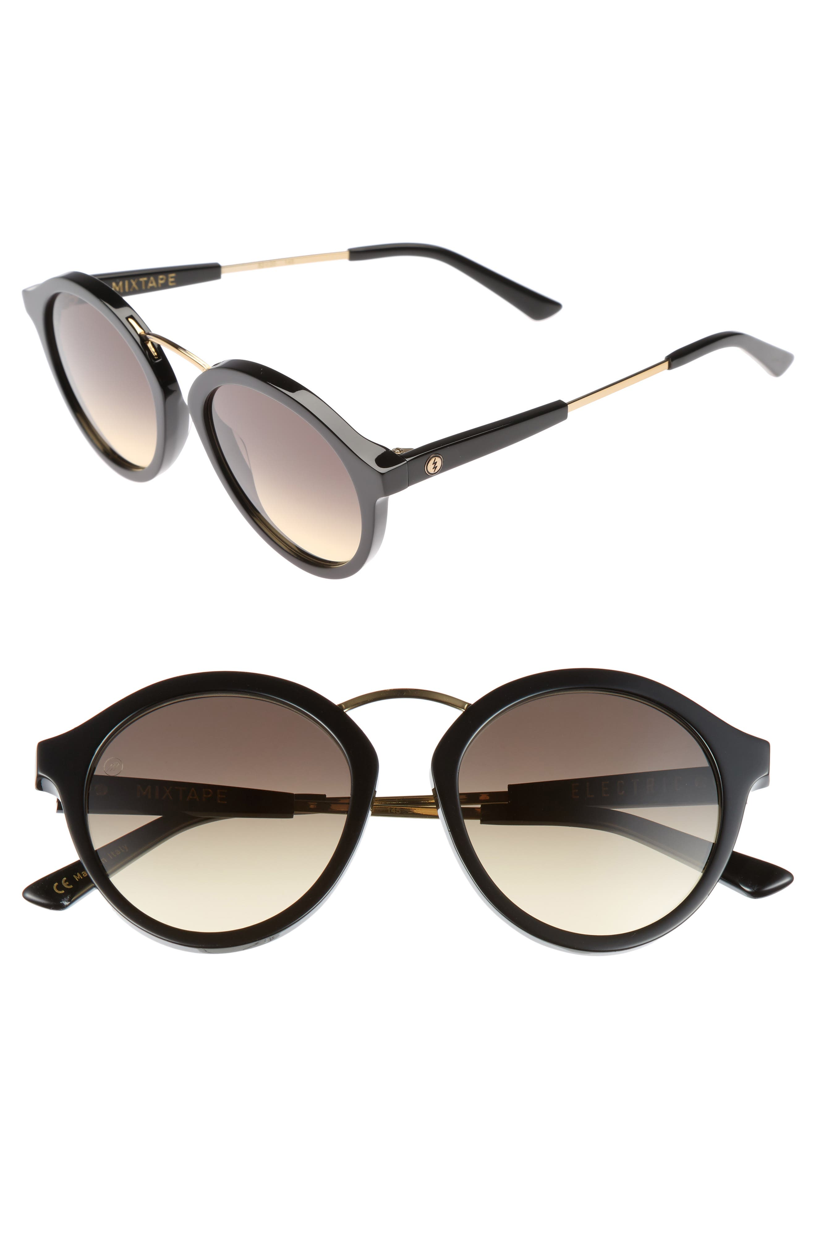 Mix Tape 52mm Gradient Round Sunglasses,                         Main,                         color, Gloss Black/ Black Gradient