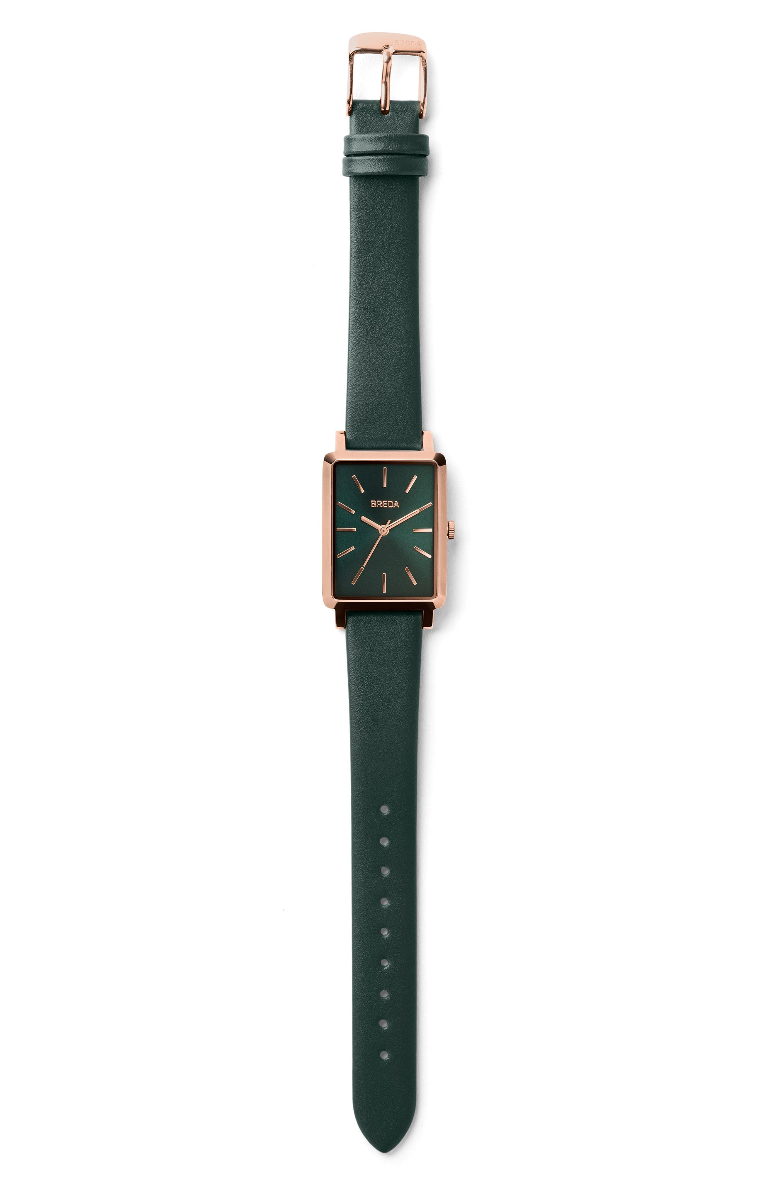 Baer Rectangular Leather Strap Watch, 26mm,                             Alternate thumbnail 2, color,                             Green/ Rose Gold