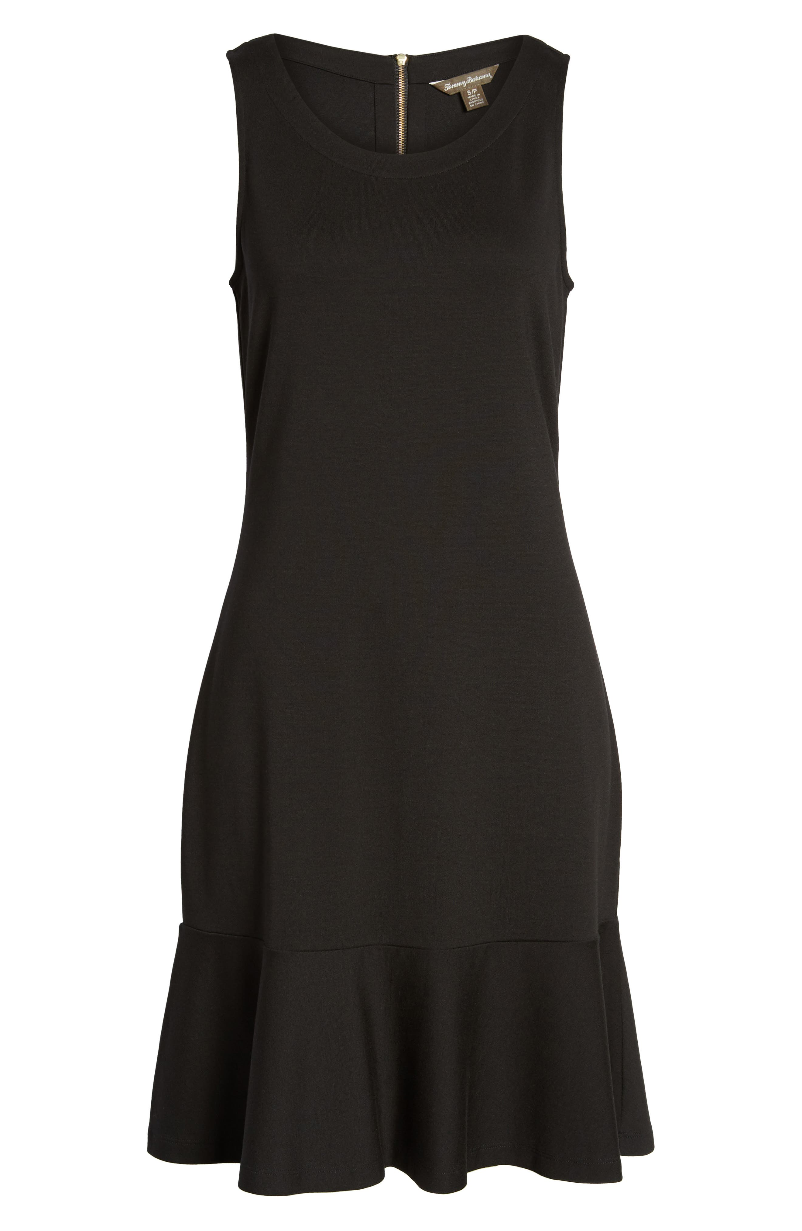 Ponte Knit A-Line Dress,                             Alternate thumbnail 6, color,                             Black