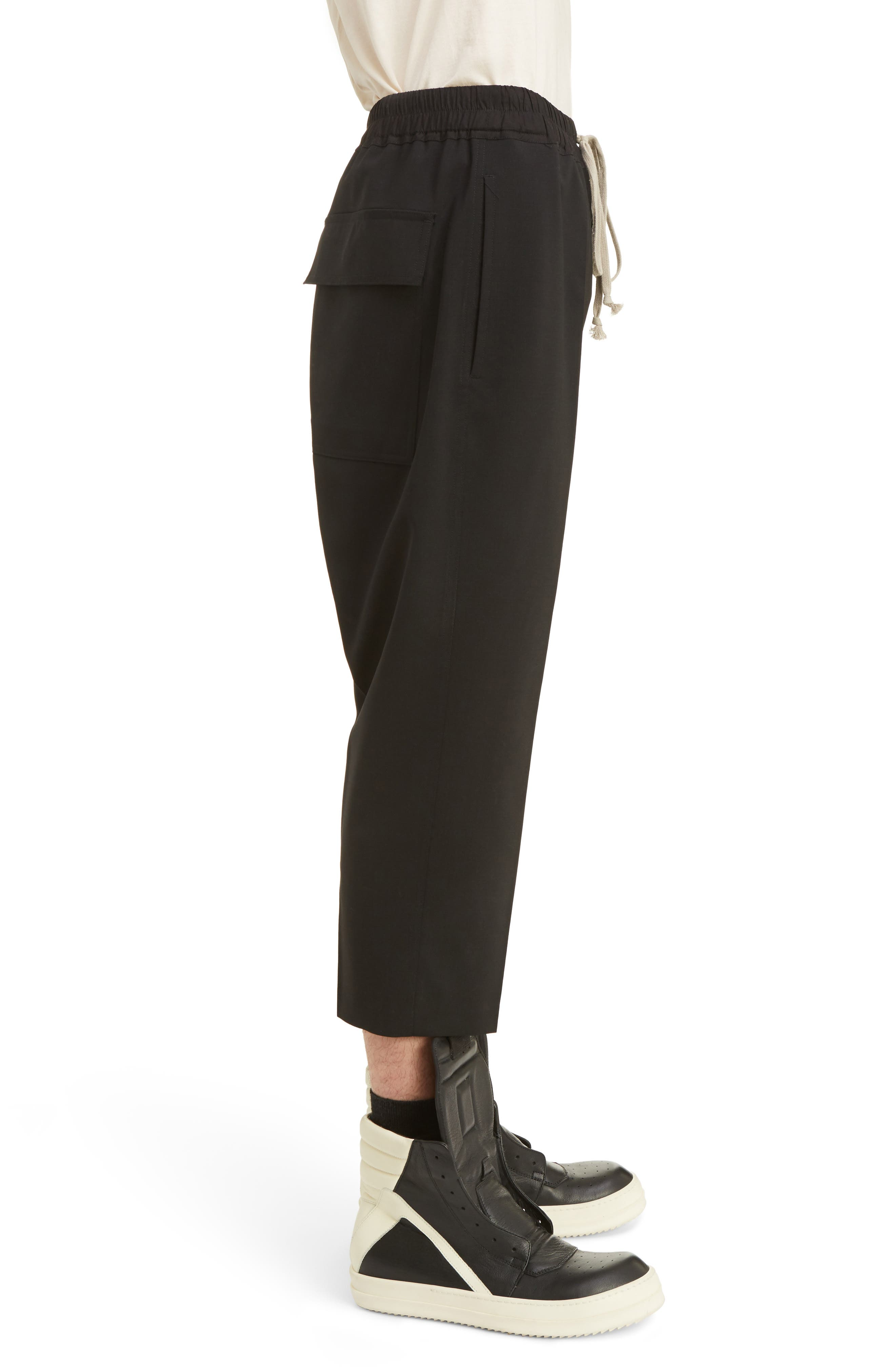 Cropped Wool Blend Pants,                             Alternate thumbnail 3, color,                             Black