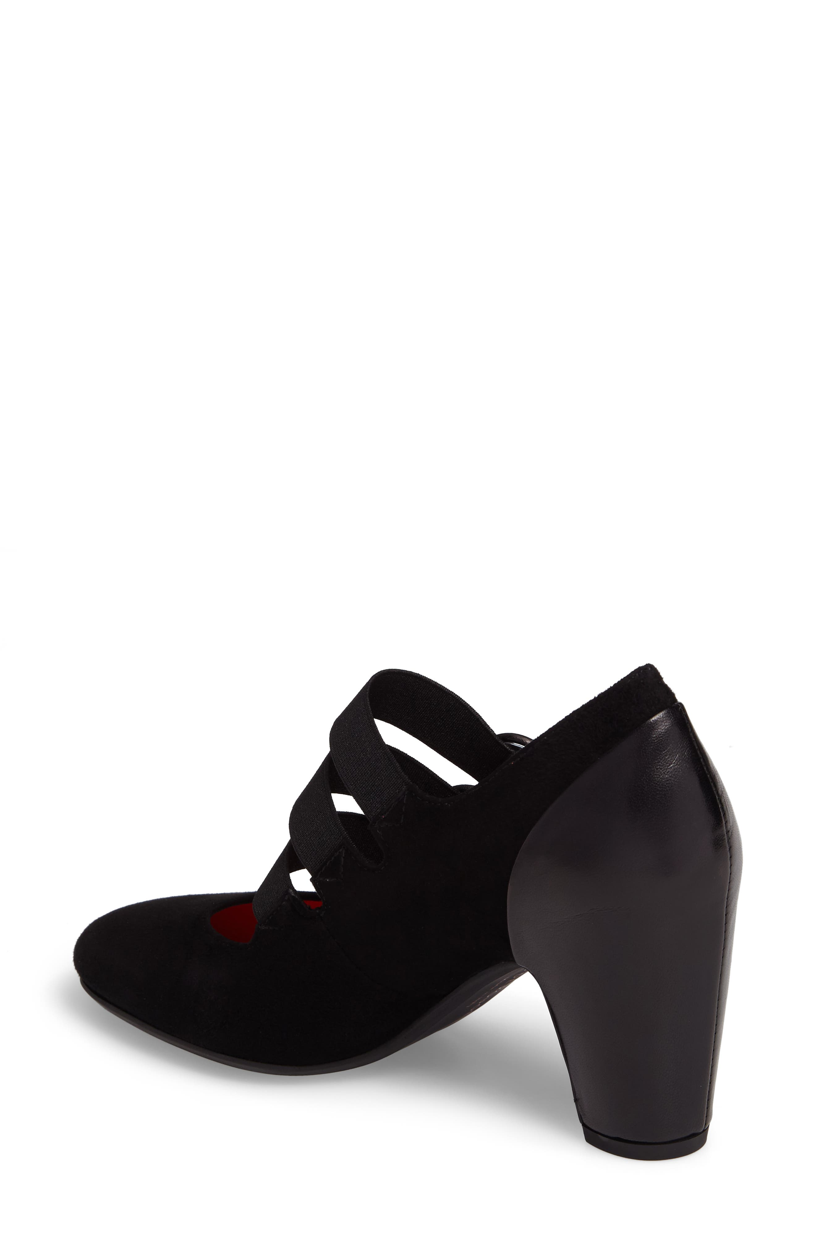 Strappy Mary Jane Pump,                             Alternate thumbnail 2, color,                             Black Suede/ Black Leather